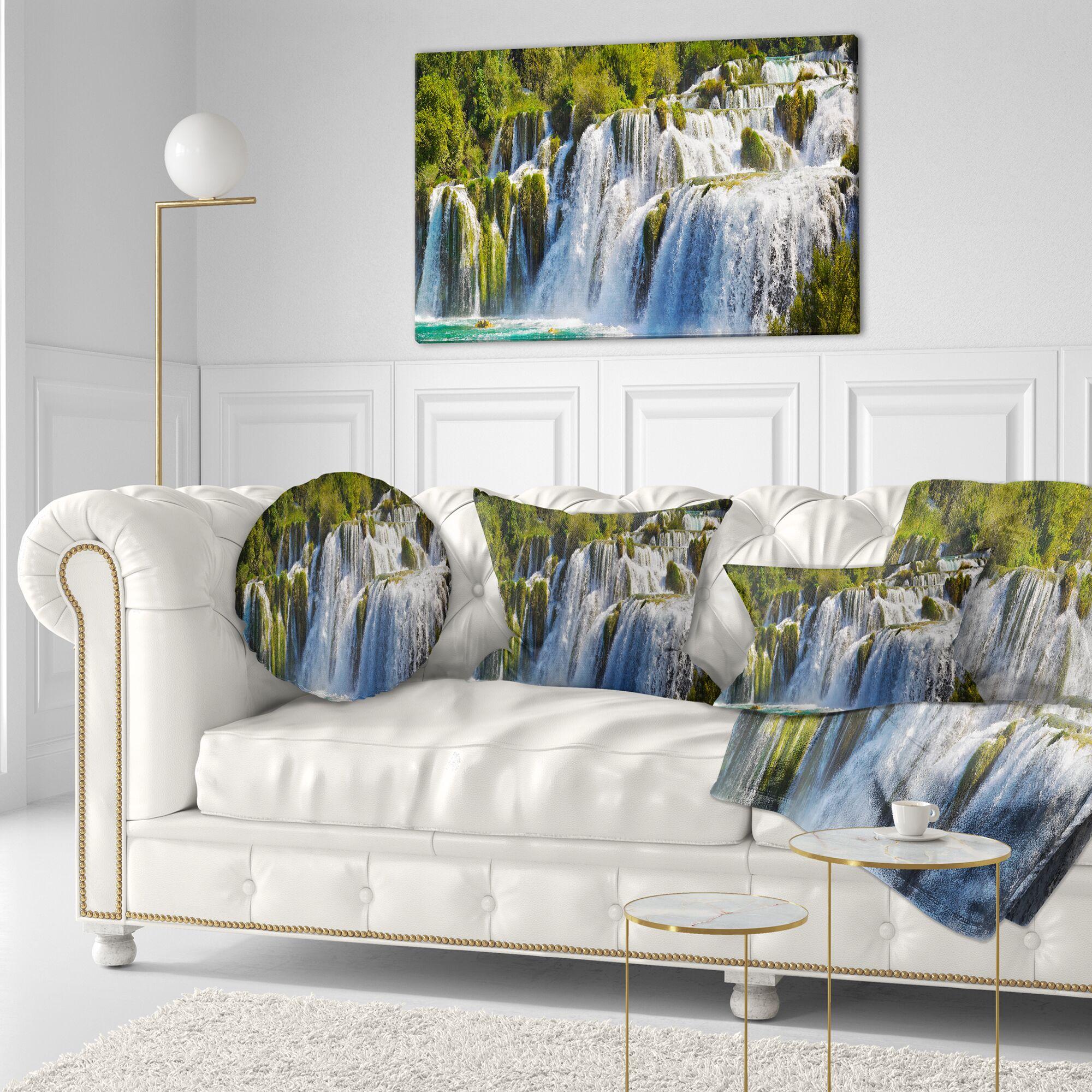 Landscape Waterfall KRKA Panorama Throw Pillow Size: 20