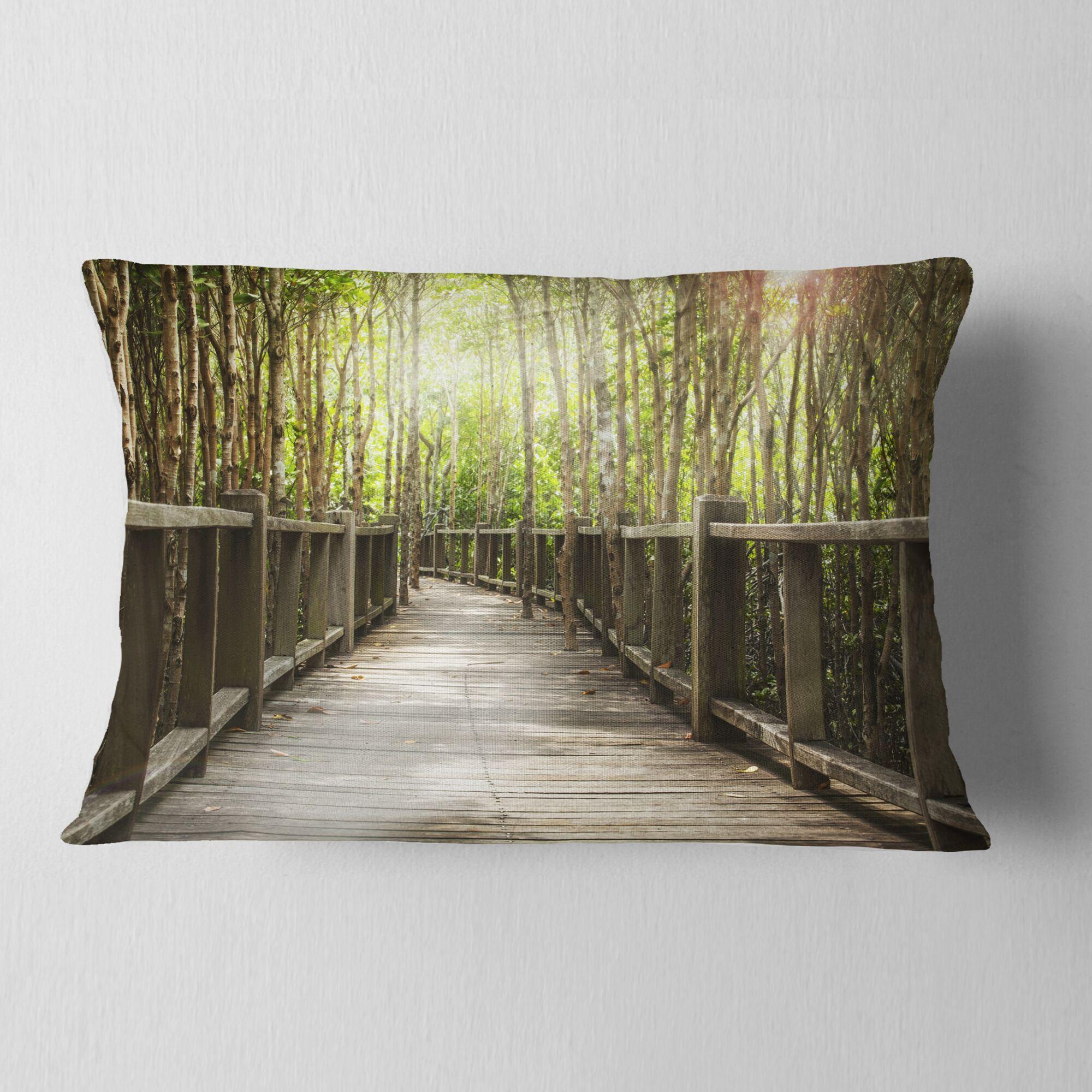 Landscape Wooden Bridge Lumbar Pillow