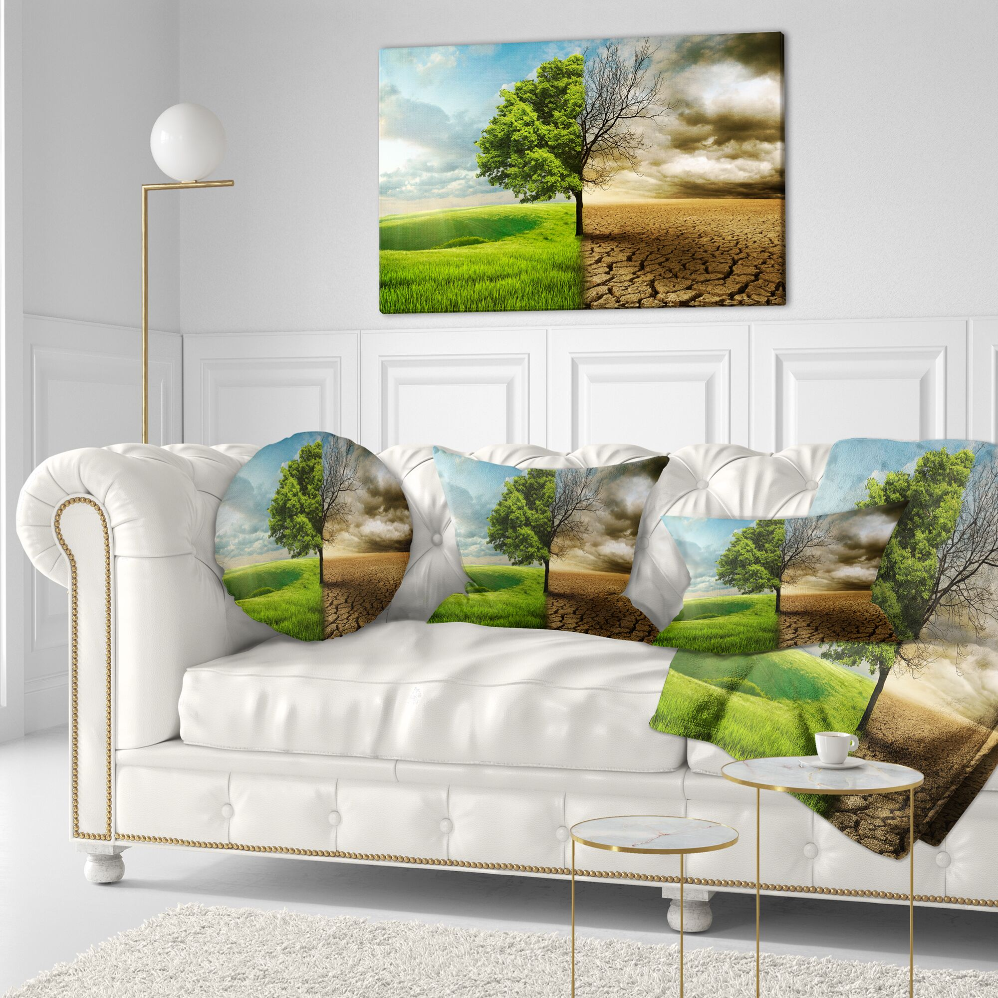 Landscape Global Warming Throw Pillow Size: 16