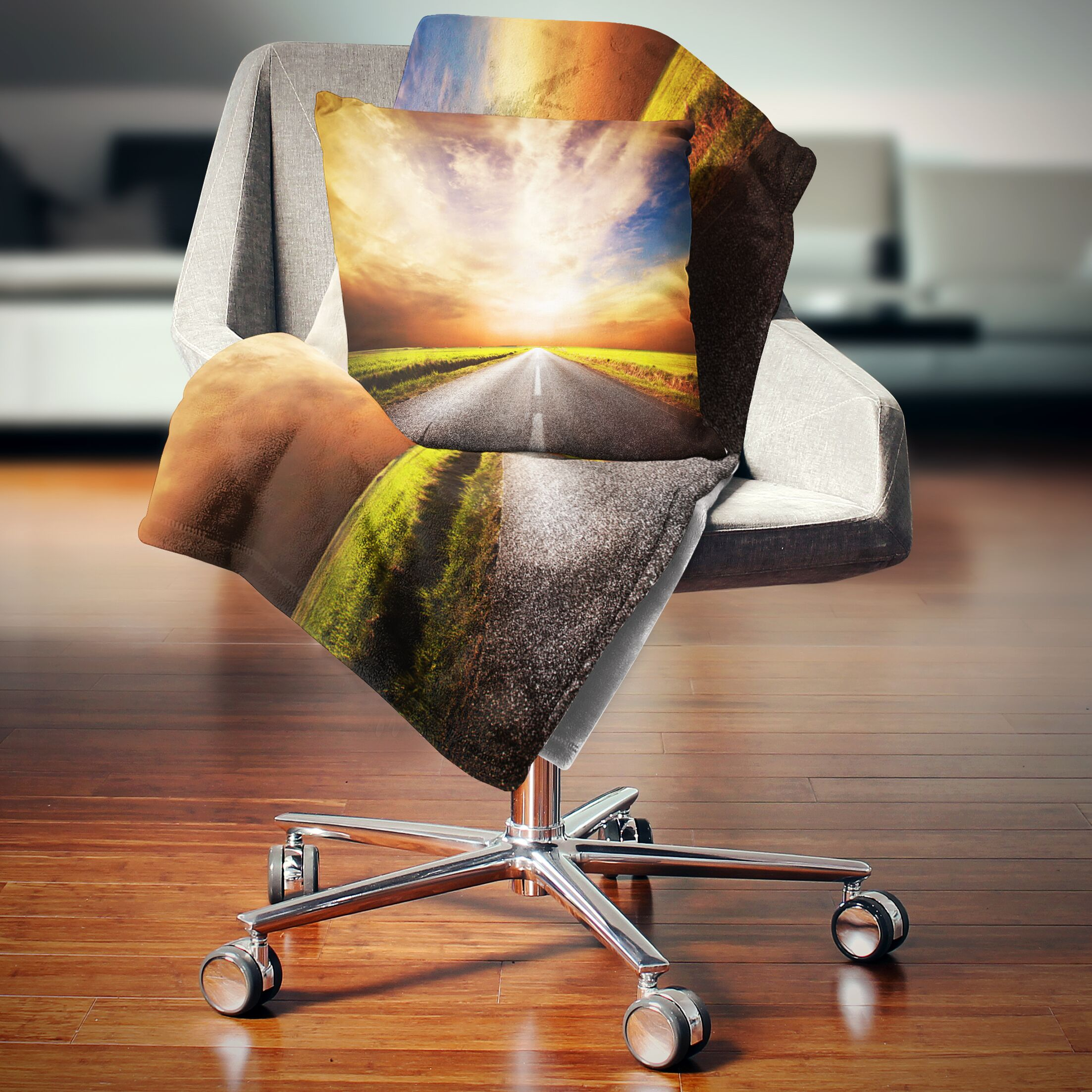 Landscape Road to Sunset Sky Printed Pillow Size: 26