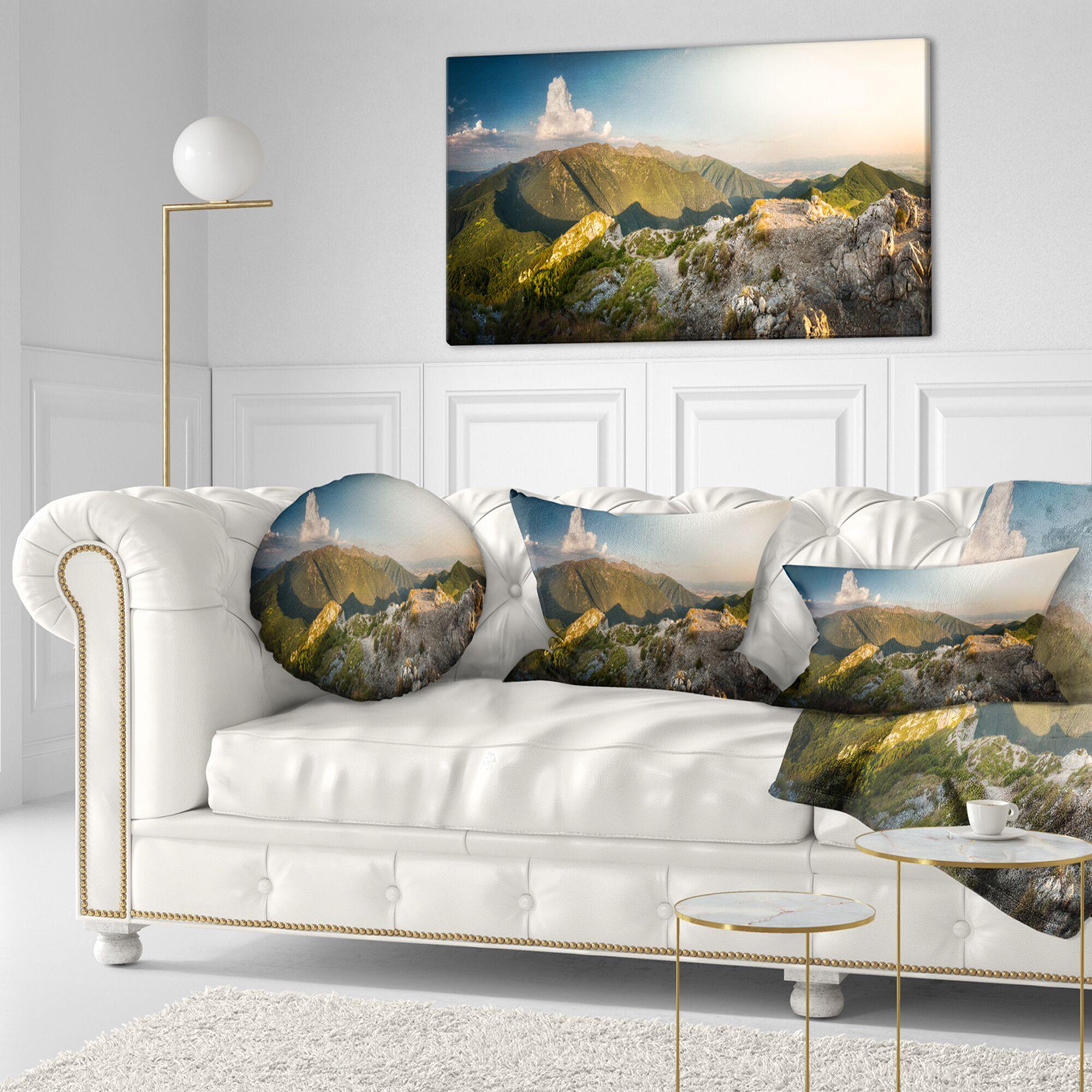 Landscape Rocky Mountains Panorama Lumbar Pillow