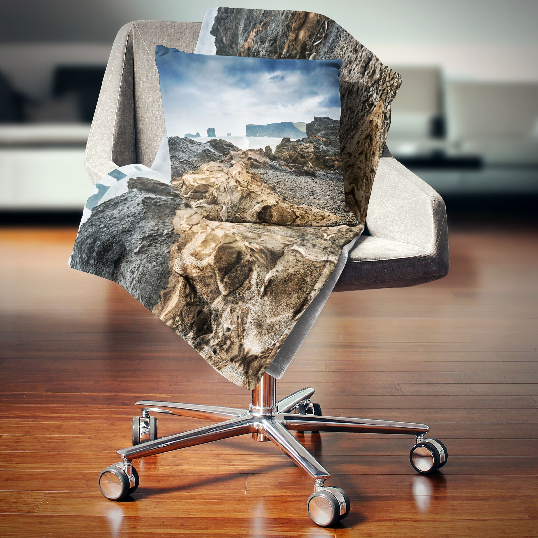 Landscape Storm in Rocky Coast of Atlantic Printed Pillow Size: 26