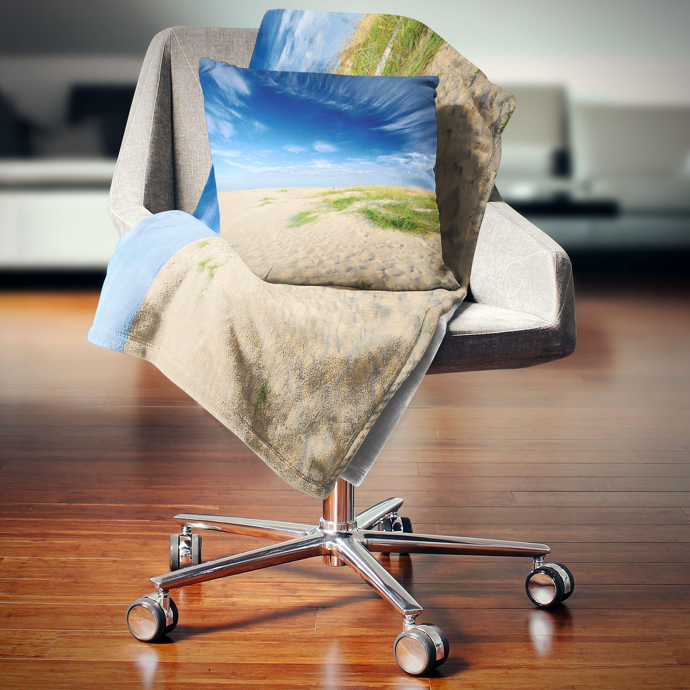 Landscape Baltic Sandy Beach Throw Pillow Size: 26