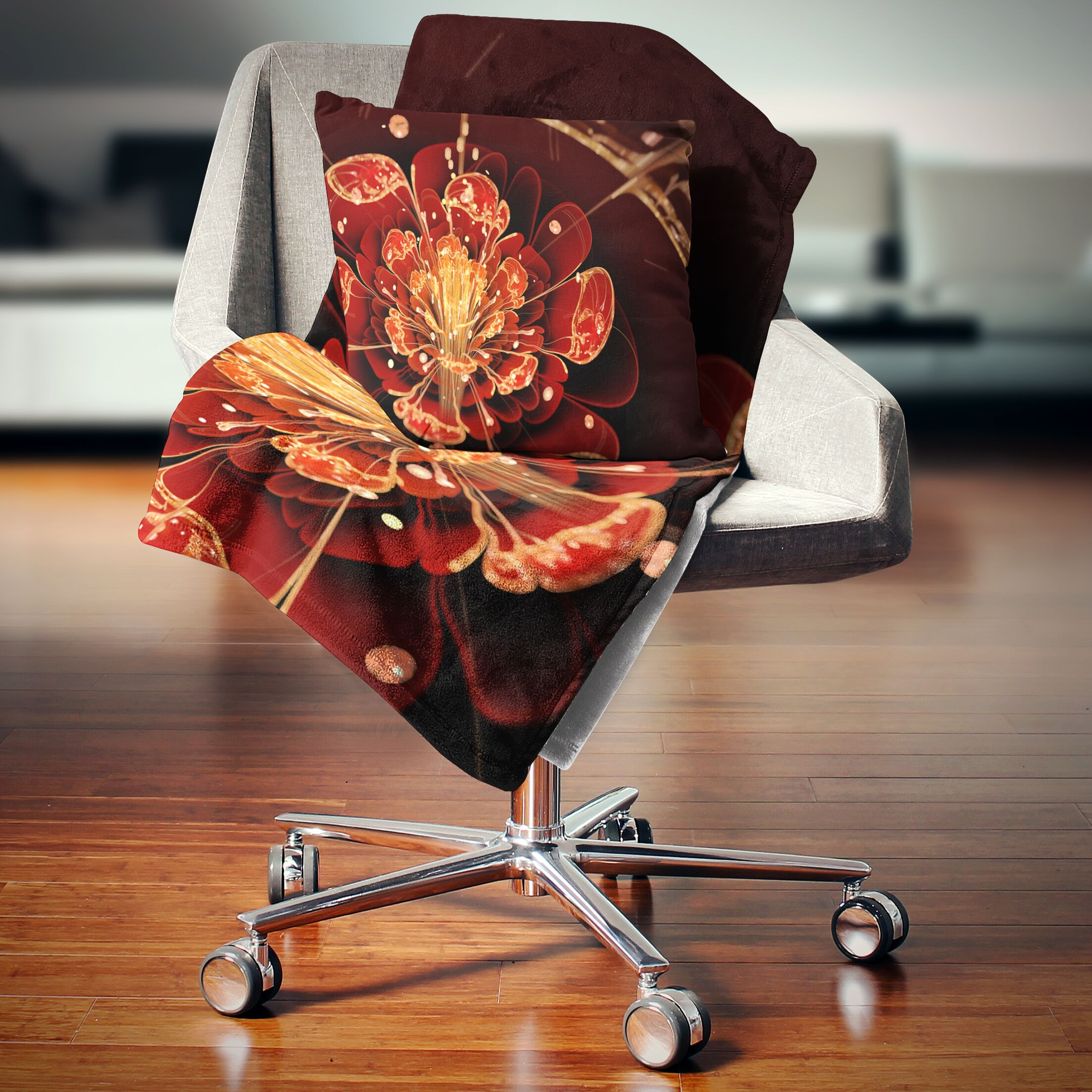 Floral with Petals Throw Pillow Size: 18