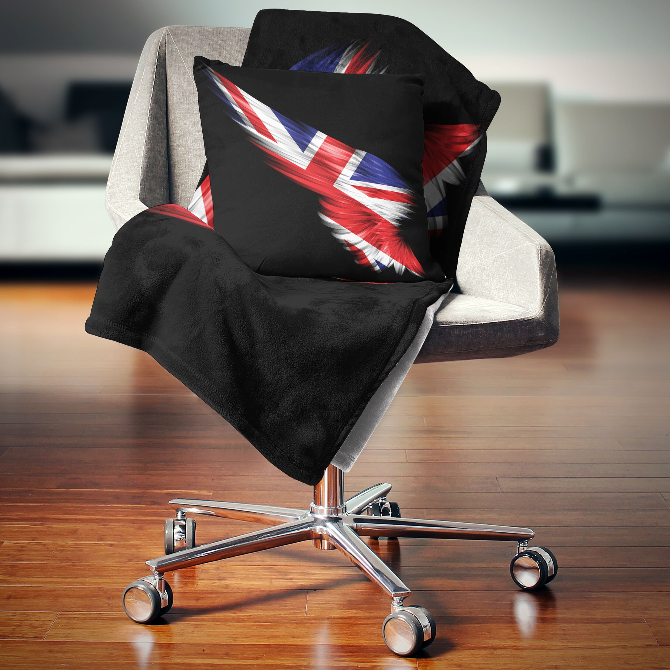 Abstract Wing with United Kingdom Flag Throw Pillow Size: 18