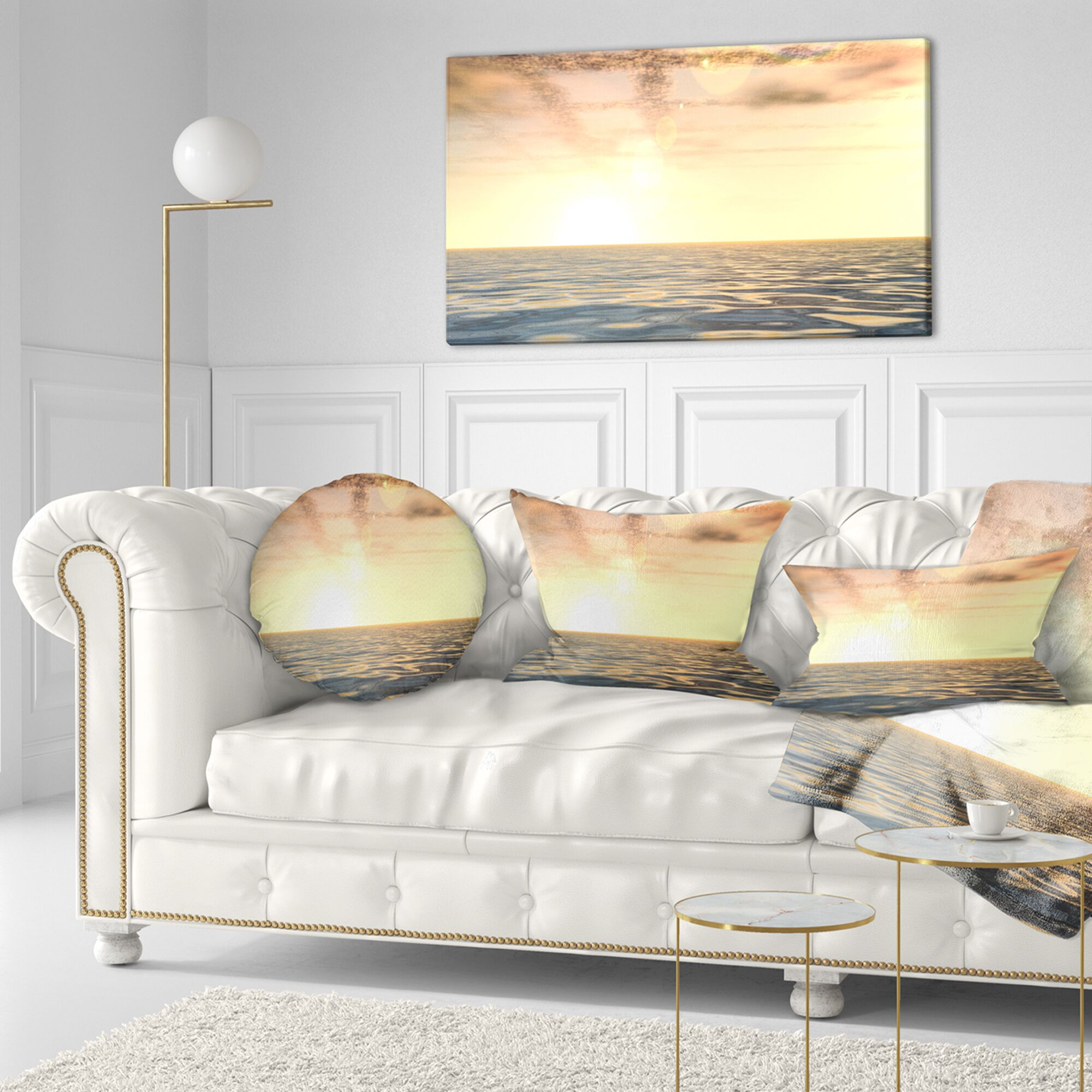 Beach Beautiful Seascape with Clouds over Throw Pillow Size: 16