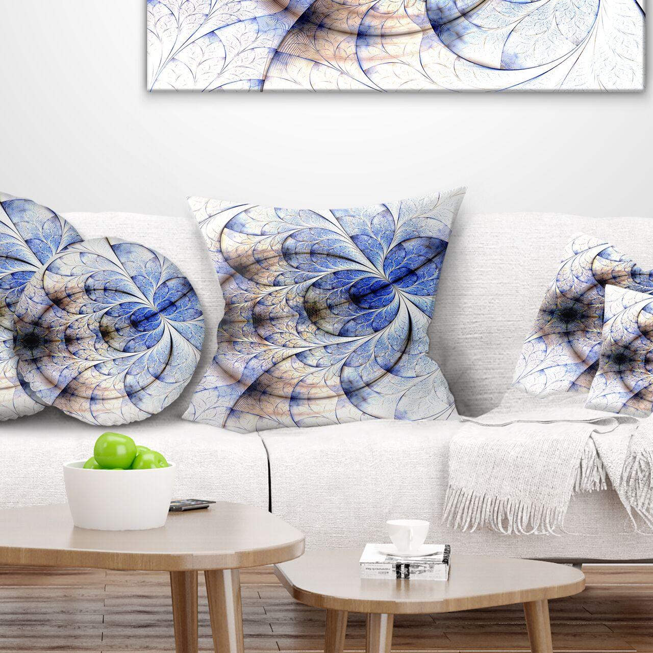 Floral Symmetrical Fractal Flower Pillow Size: 18