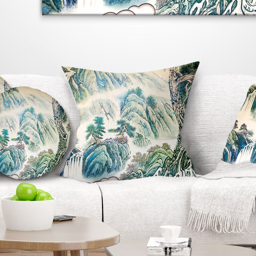 Floral Chinese Landscape Painting Pillow Size: 18