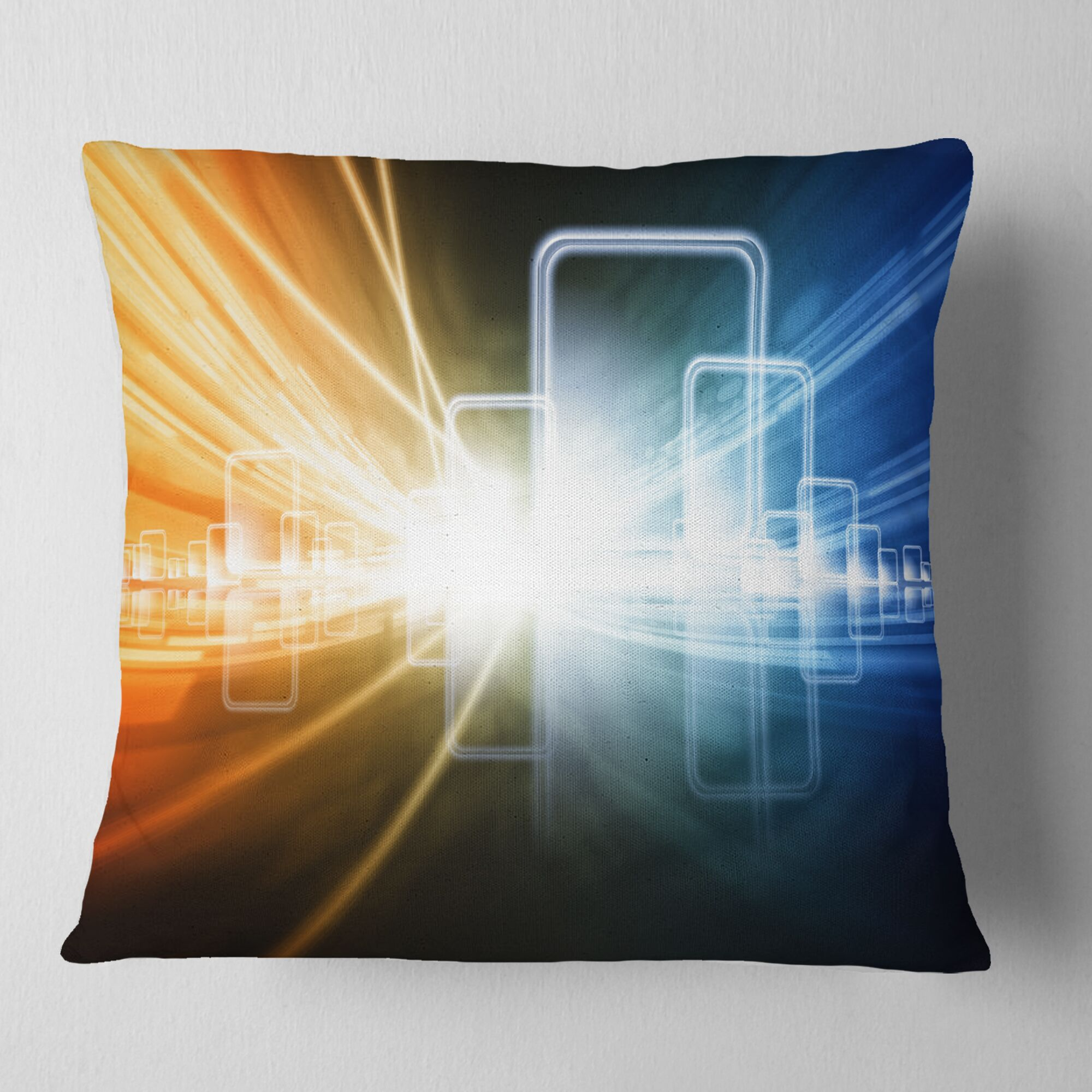 Abstract Glowing Squares and Lines Pillow Size: 16