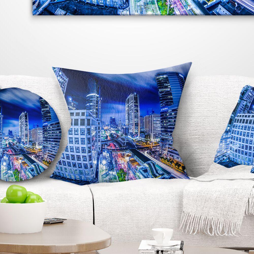 Photography Bangkok City Night View Cityscape Pillow Size: 16
