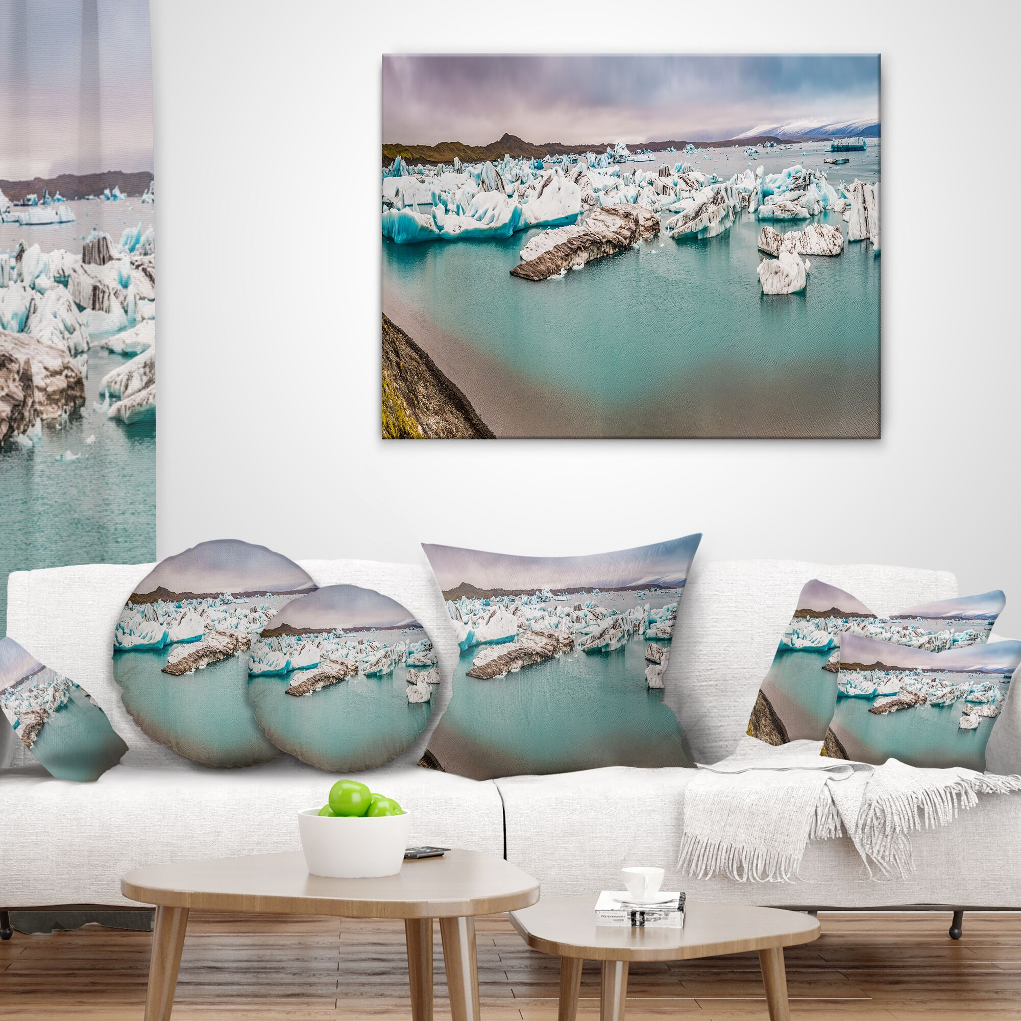 Landscape Lake Full of Icebergs Panorama Throw Pillow Size: 16
