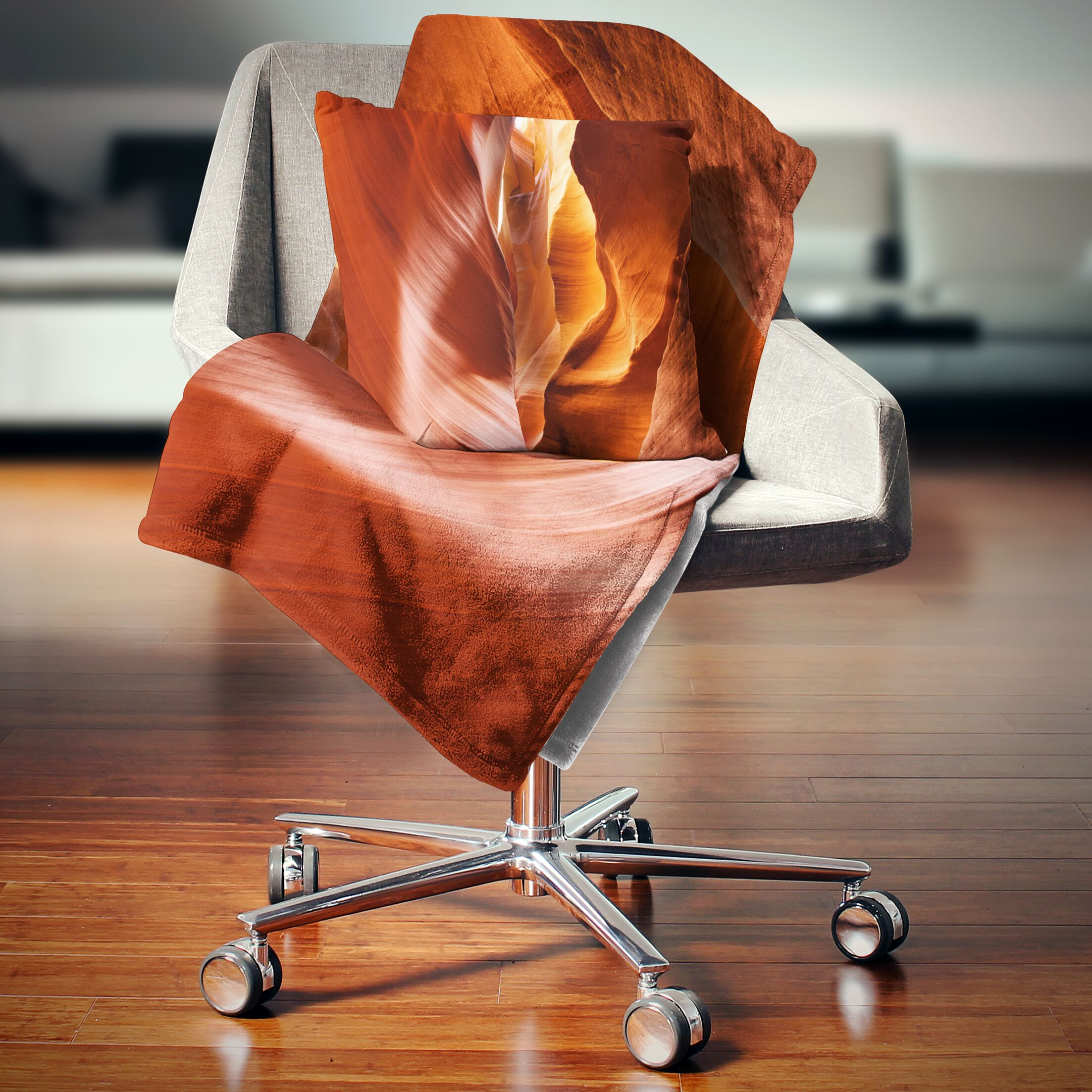 Landscape Sunshine in Antelope Canyon Throw Pillow Size: 16