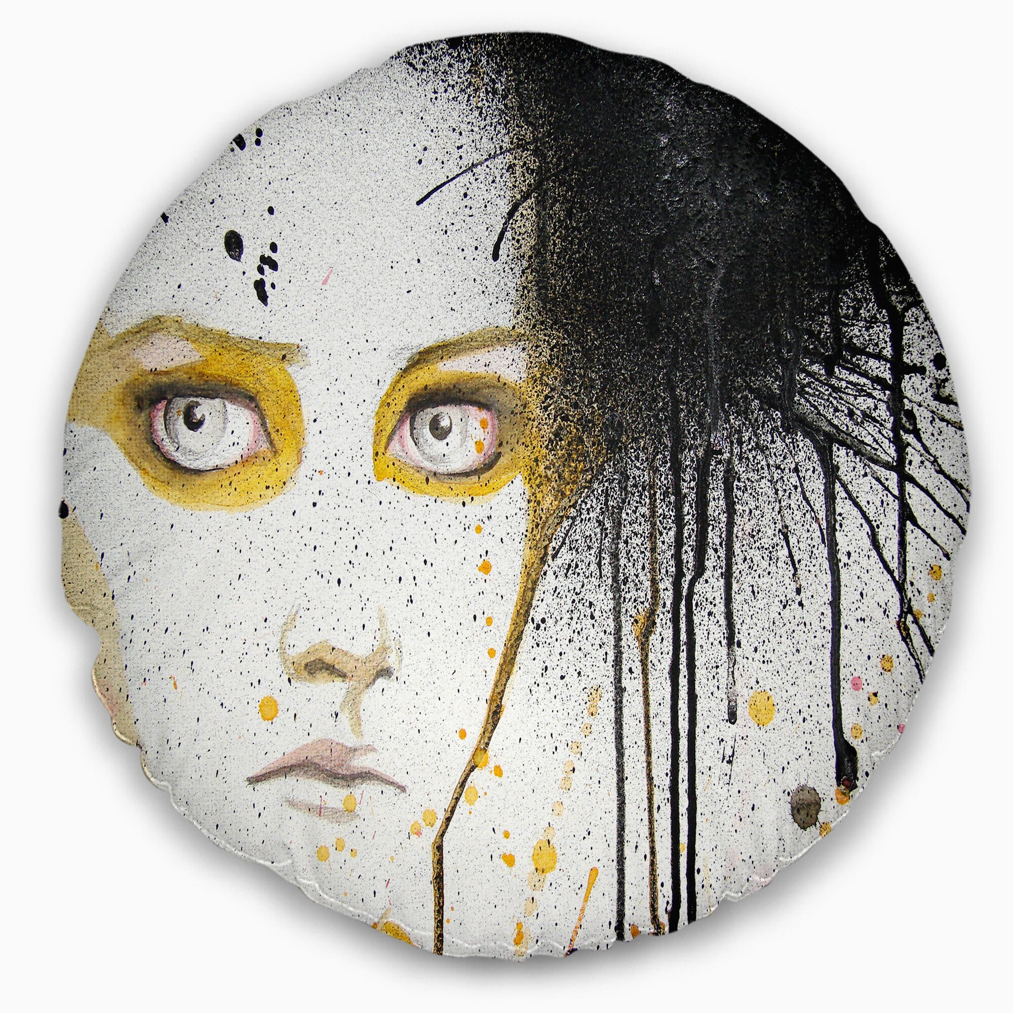 Abstract Portrait Beautiful Girl with Eyes Throw Pillow Size: 16