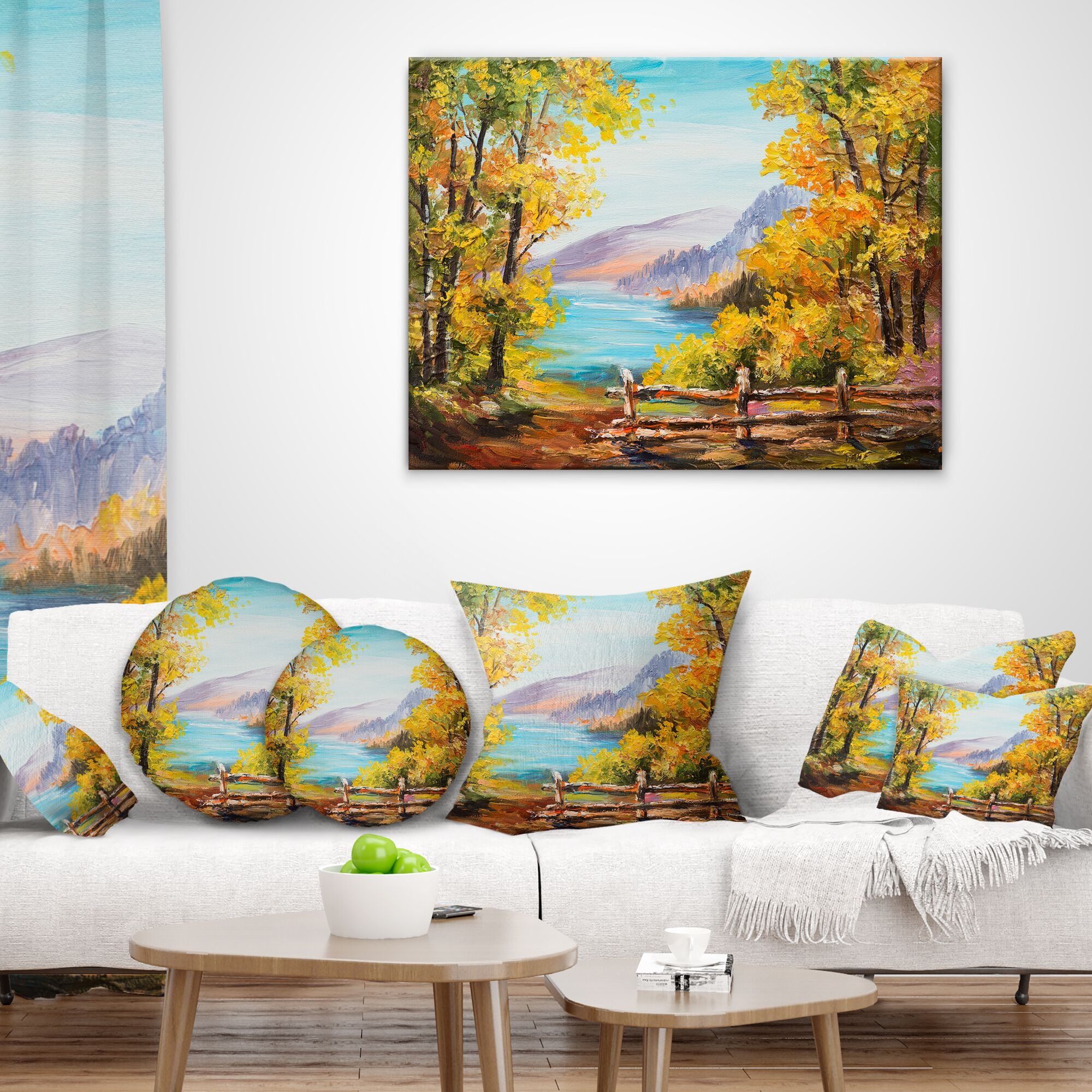 Landscape Mountain Lake in the Fall Throw Pillow Size: 16