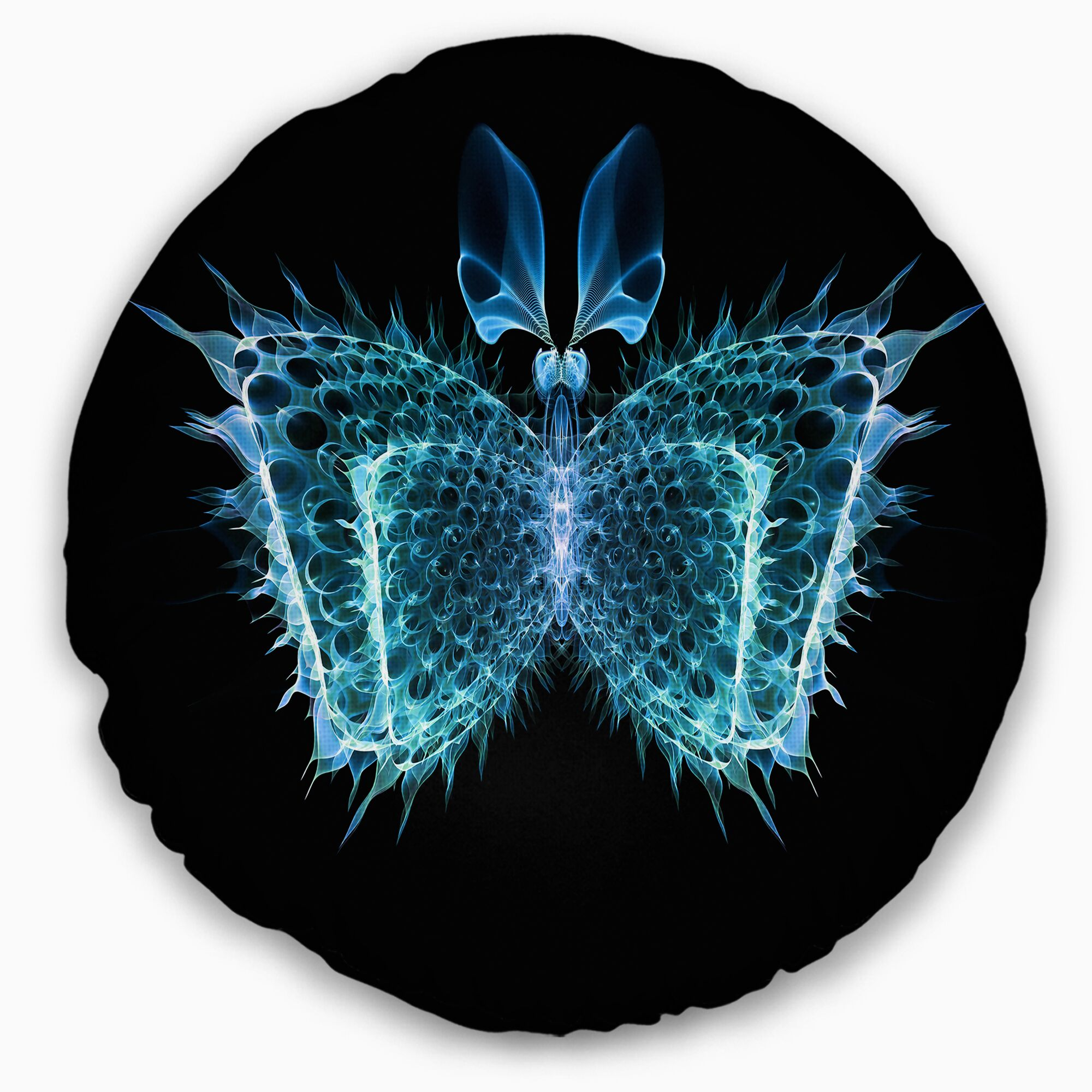 Abstract Fractal Butterfly in Dark Throw Pillow Size: 16