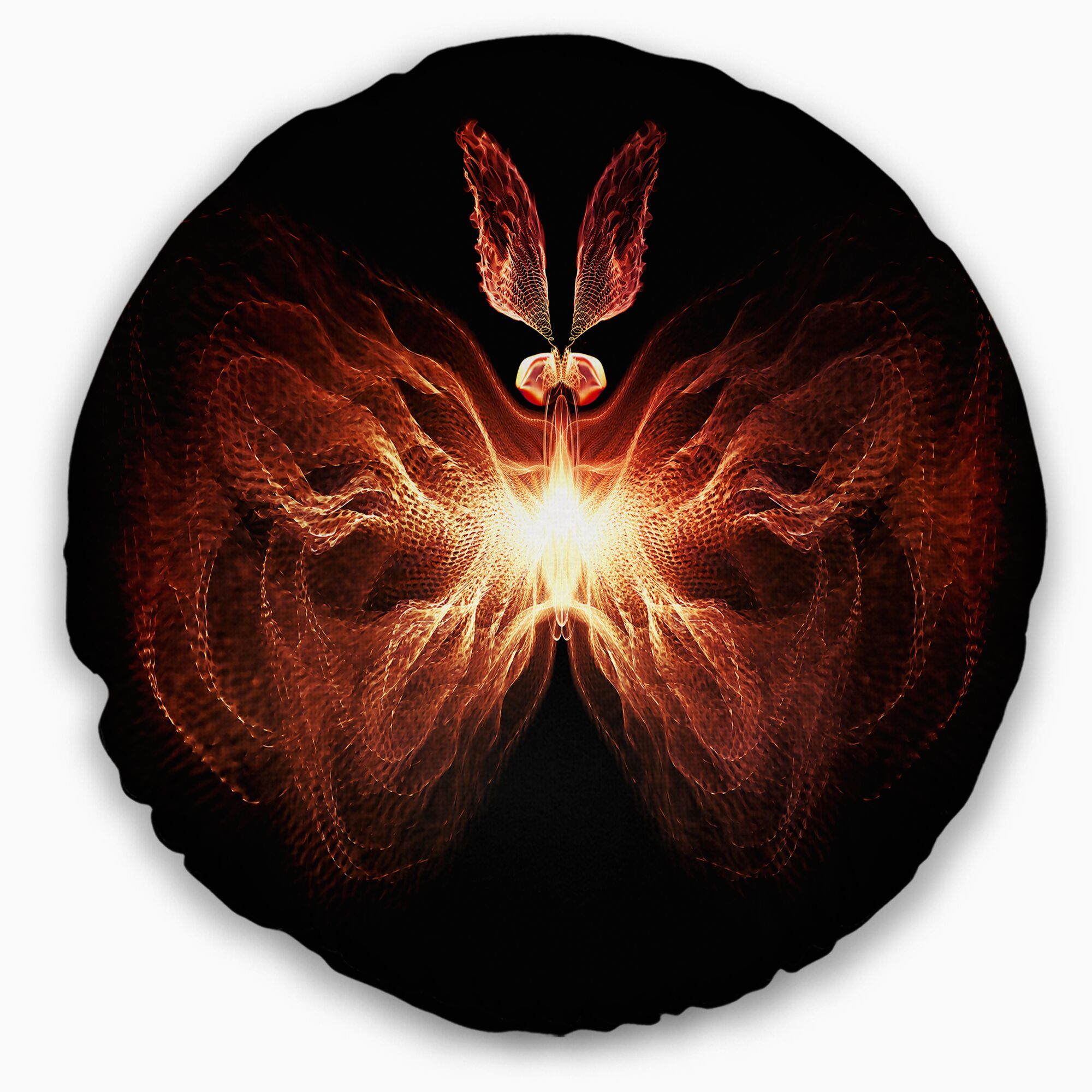 Abstract Fire in Middle Fractal Butterfly Throw Pillow Size: 16