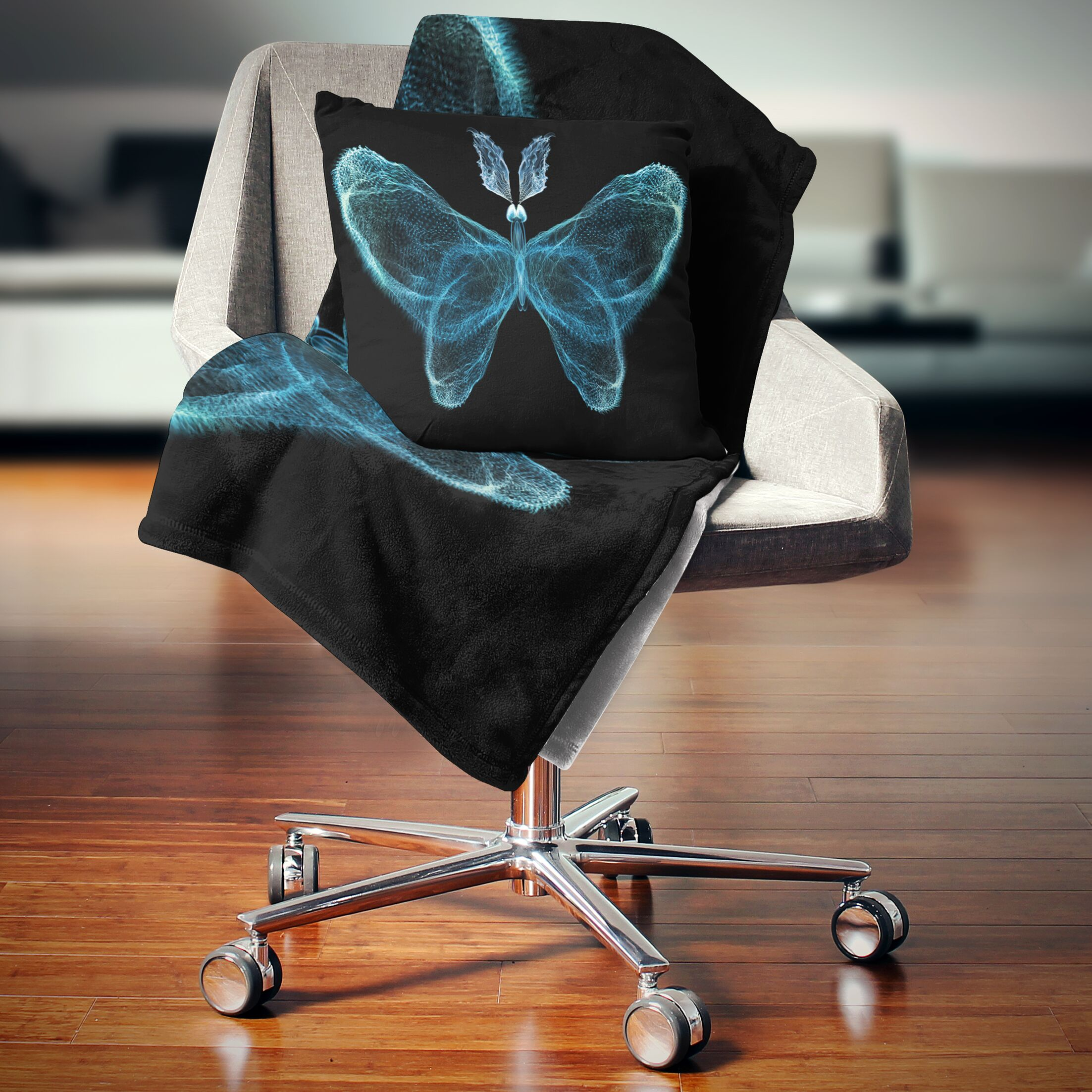 Abstract Fractal Butterfly in Dark Throw Pillow Size: 18