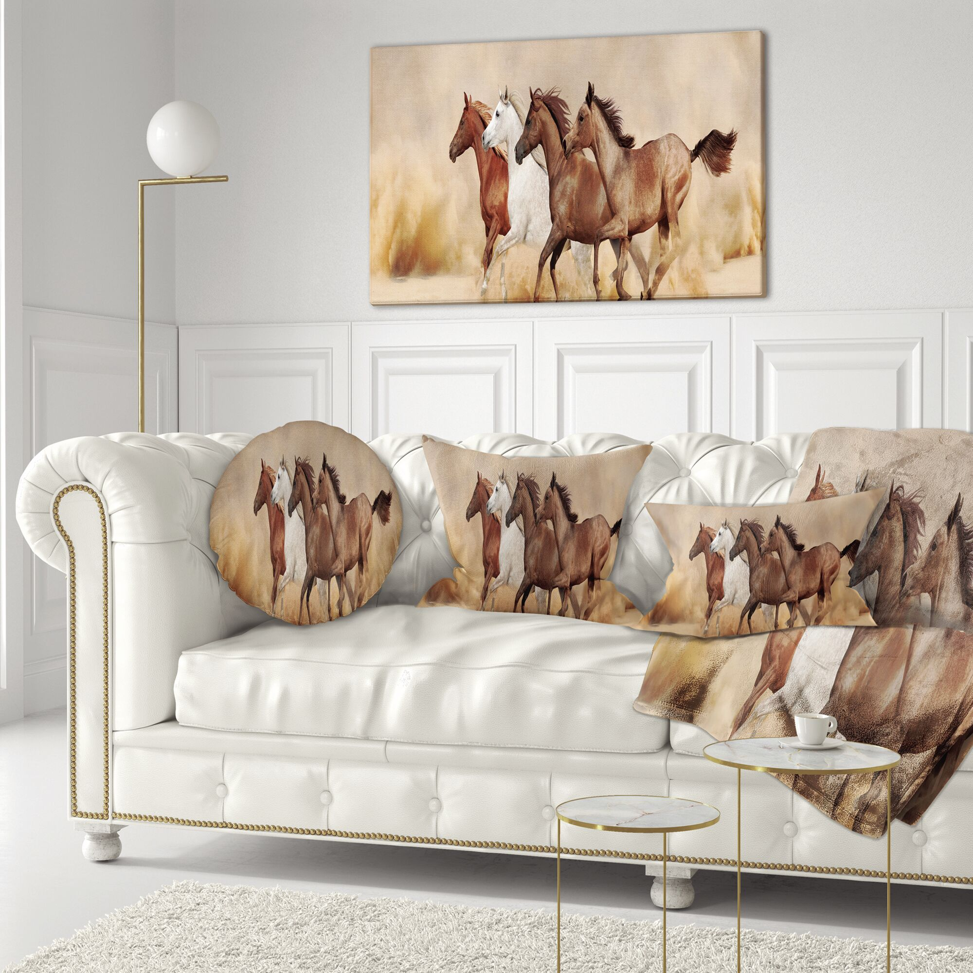Landscape Herd Gallops in Sand Storm Throw Pillow Size: 16