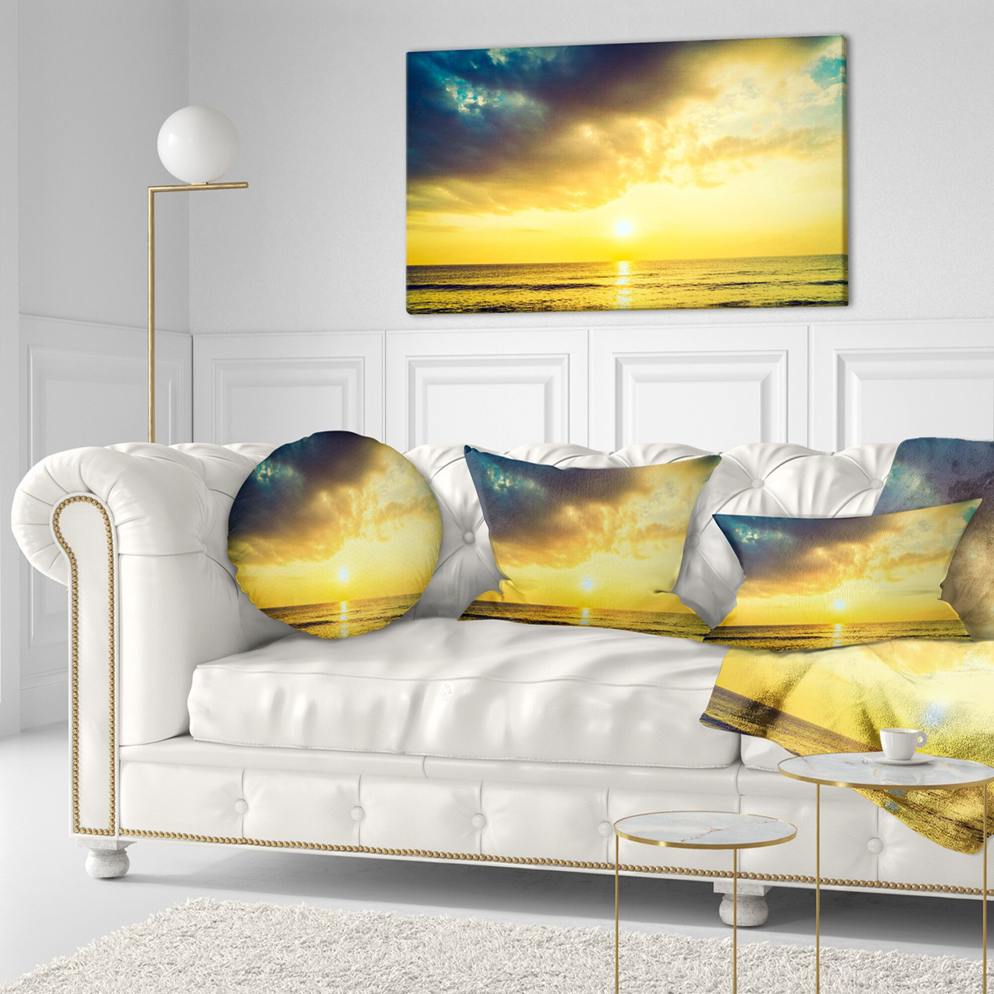 Seascape Yellowish Sky over Serene Seashore Throw Pillow Size: 20