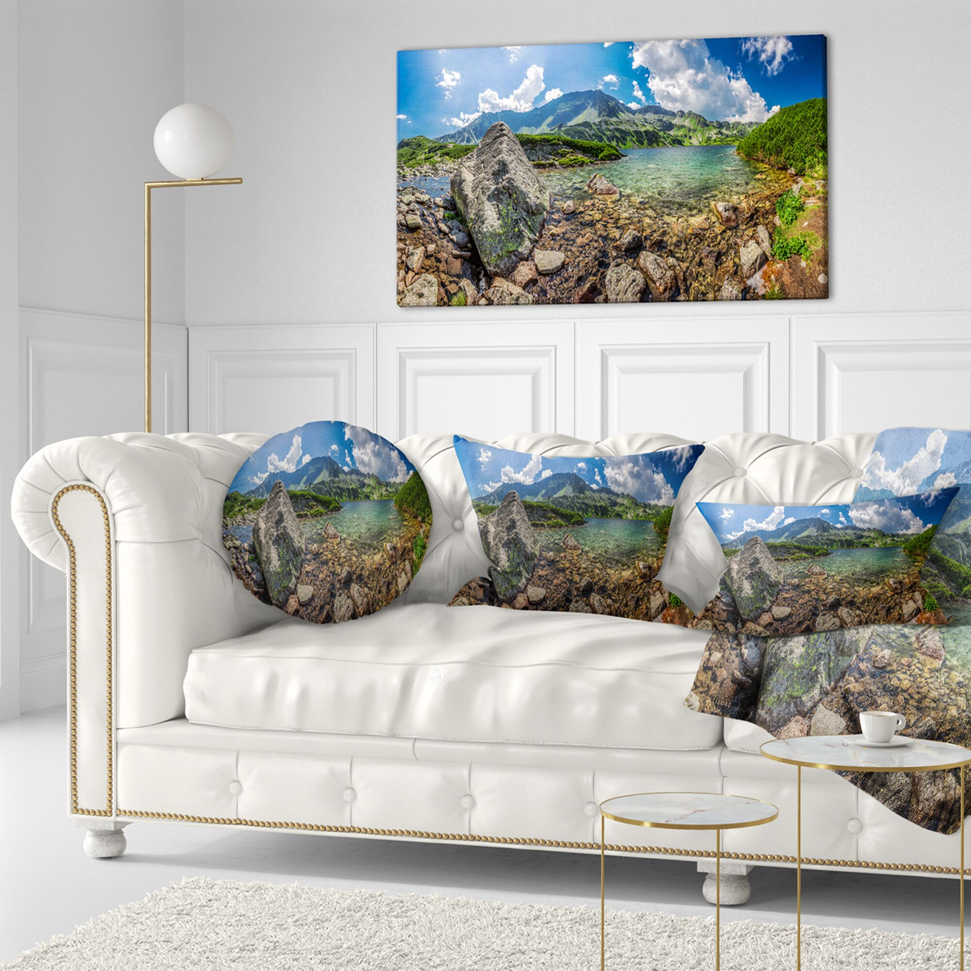 Seashore Amazing Pond in Tatra Mountains Lumbar Pillow
