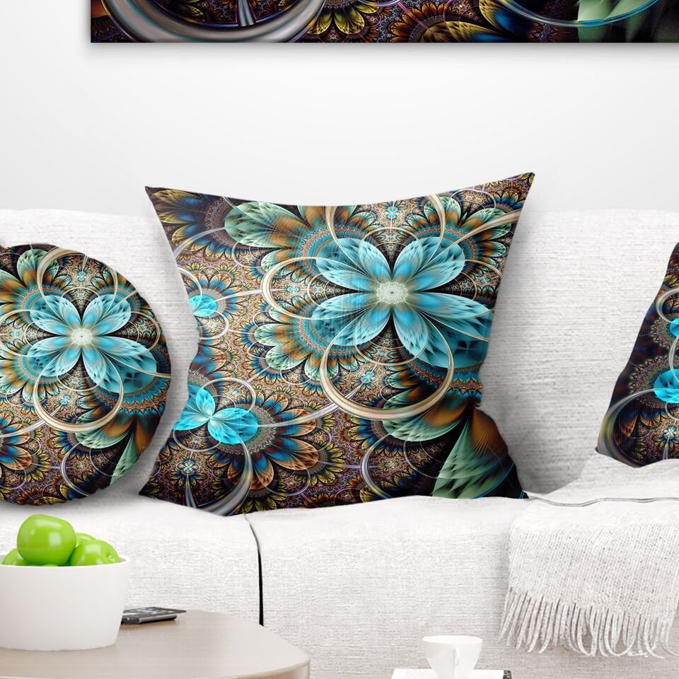 Abstract Colorful Fractal Flowers with Shade Pillow Size: 26