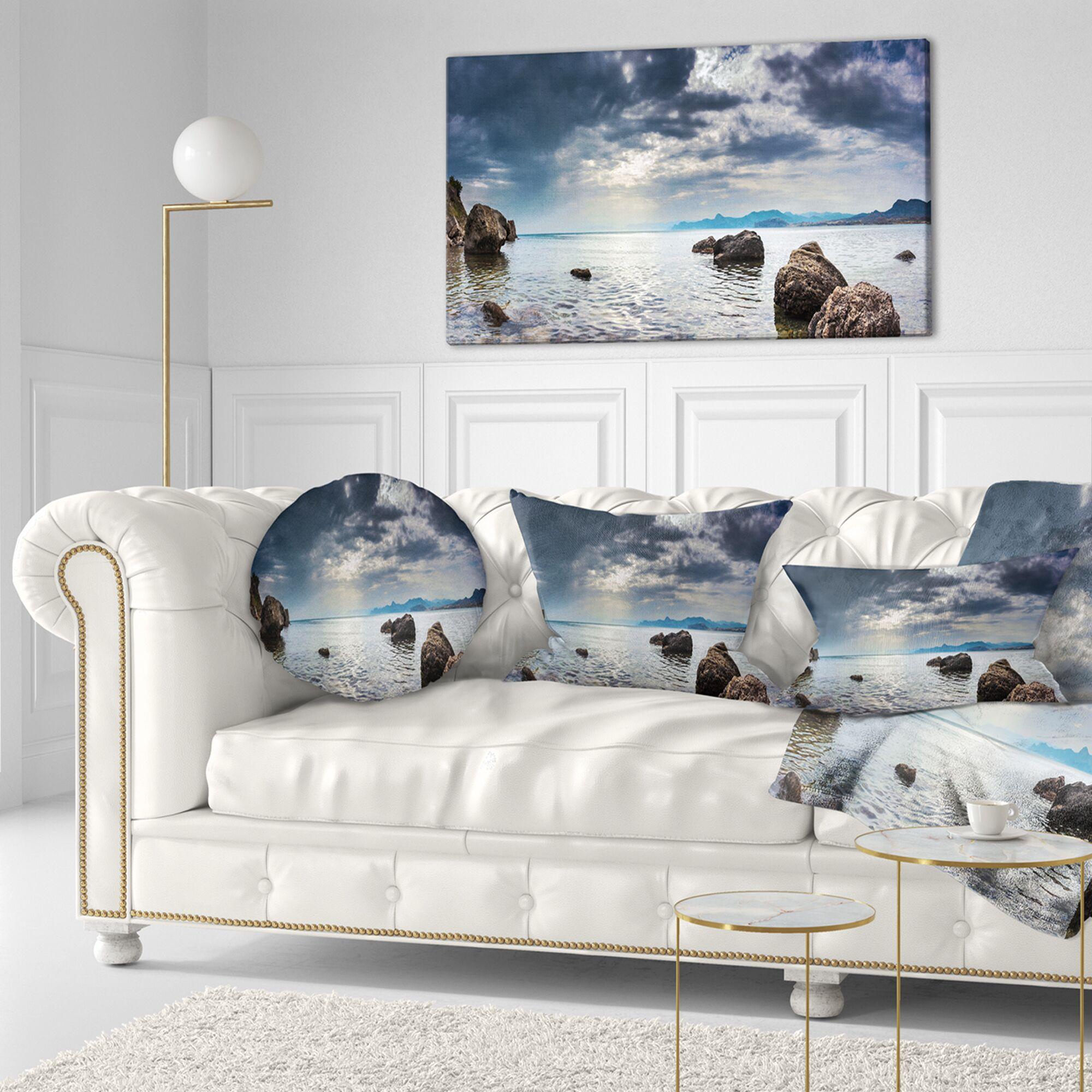 Seashore Seas in Crimean Peninsula Panorama Throw Pillow Size: 16