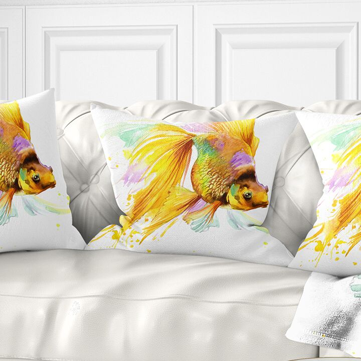 Animal Fish Illustration Pillow Size: 18