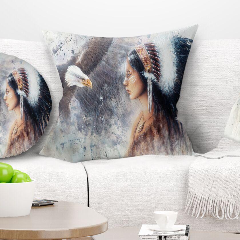 Abstract Woman Enchanting Mystical Priestess Pillow Size: 16