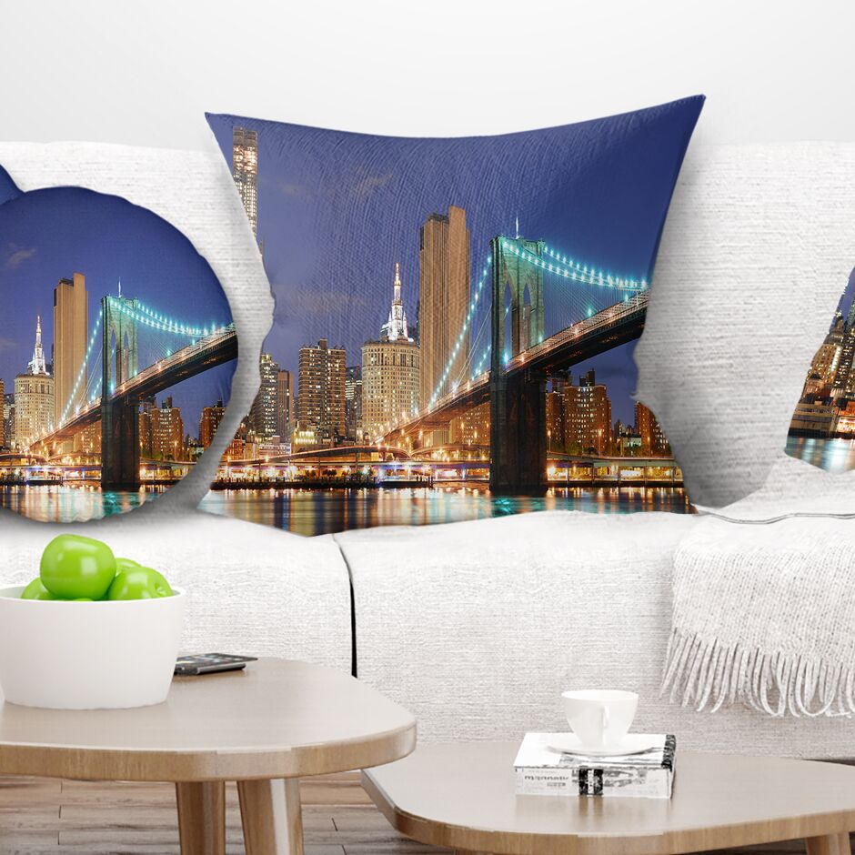 Cityscape Photo Manhattan Skyline Panorama Pillow Size: 18