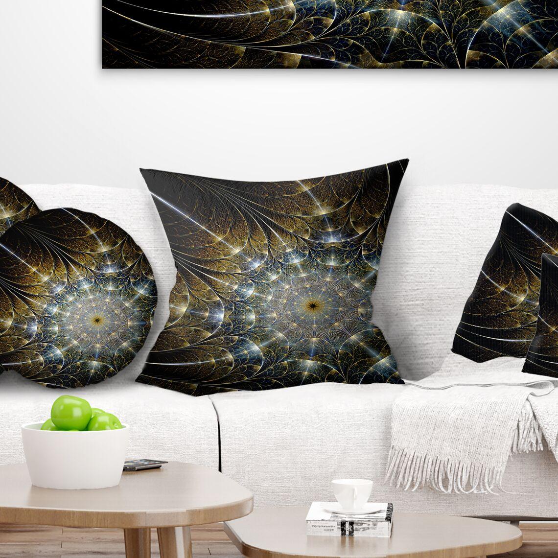 Abstract Symmetrical Fractal Flower Pillow Size: 18
