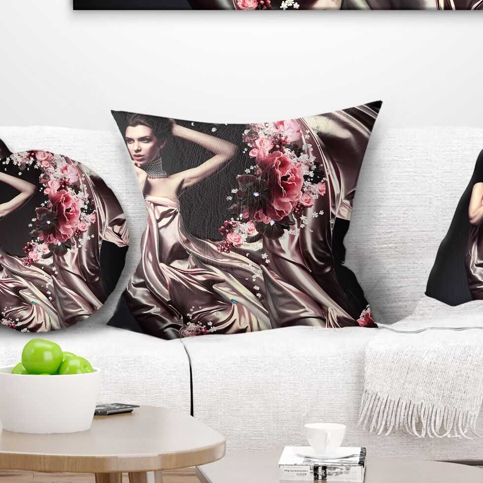 Portrait Woman in Fabric and Flowers Pillow Size: 16