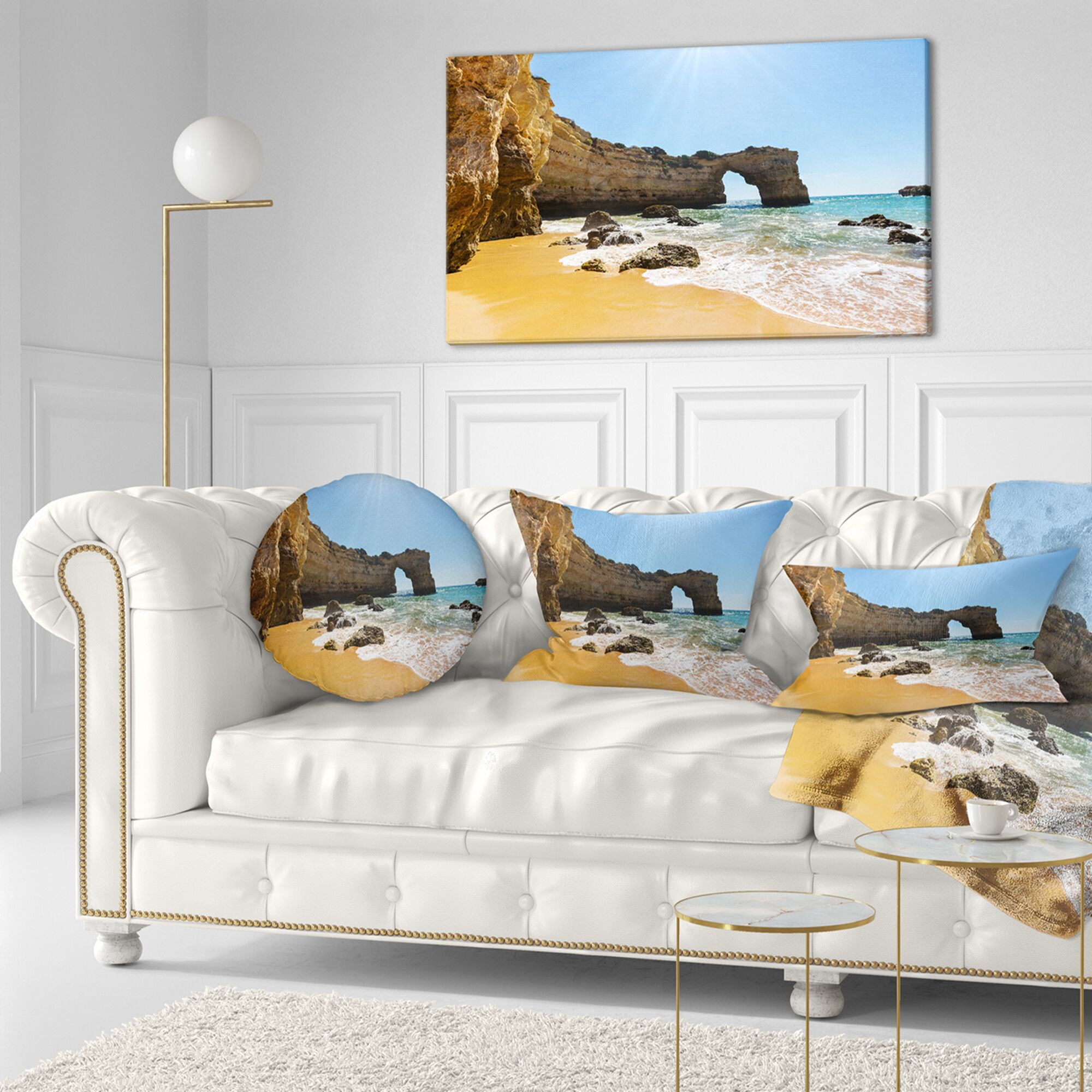 Wide Portugal Beach with White Waters Modern Beach Throw Pillow Size: 16