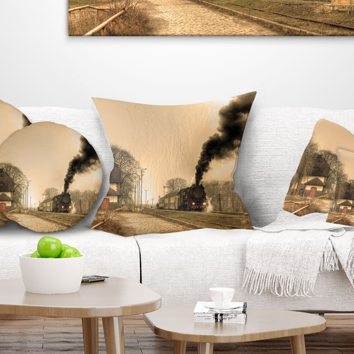 Landscape Retro Steam Train Pillow Size: 18