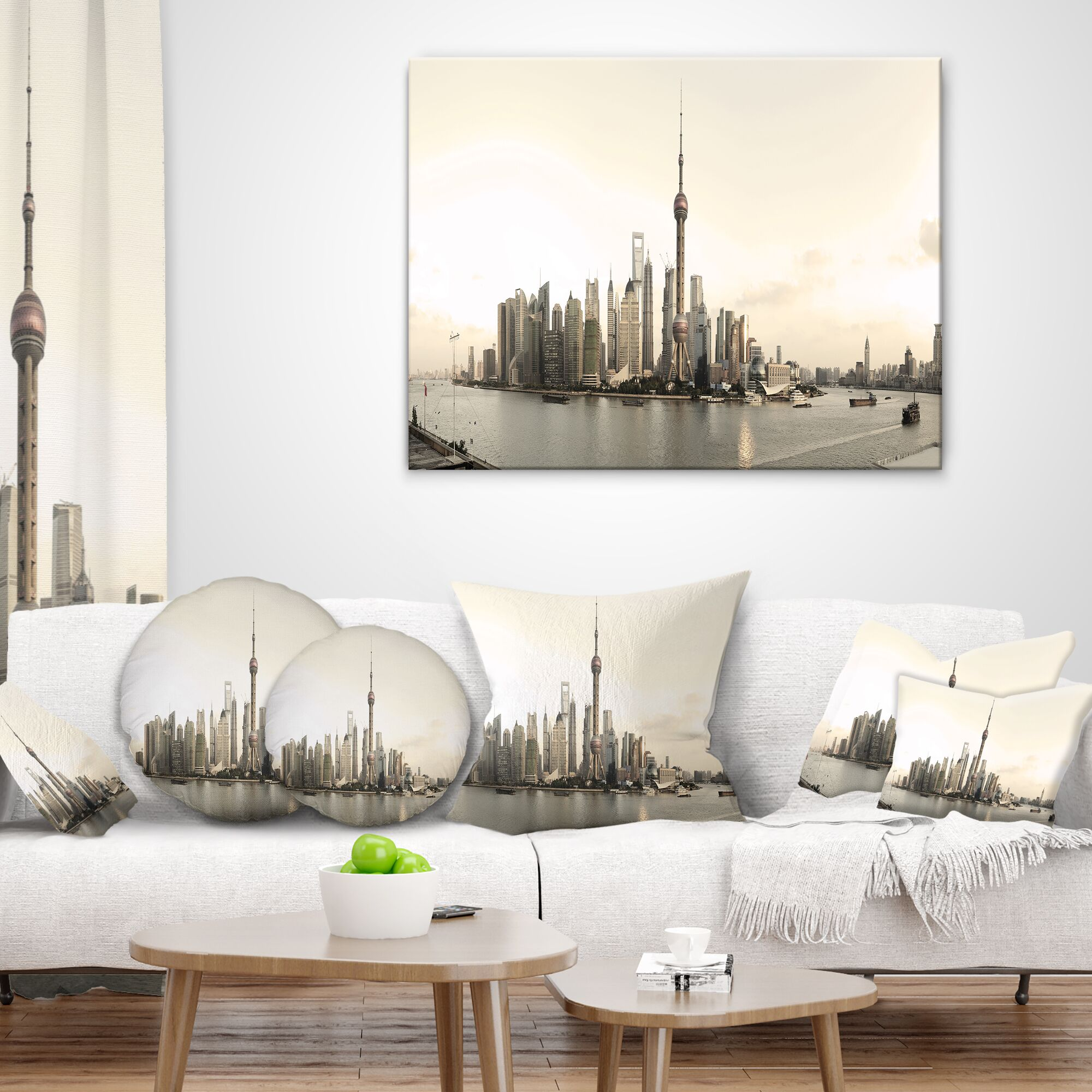 Cityscape Photo Shanghai s Architecture Lumbar Pillow