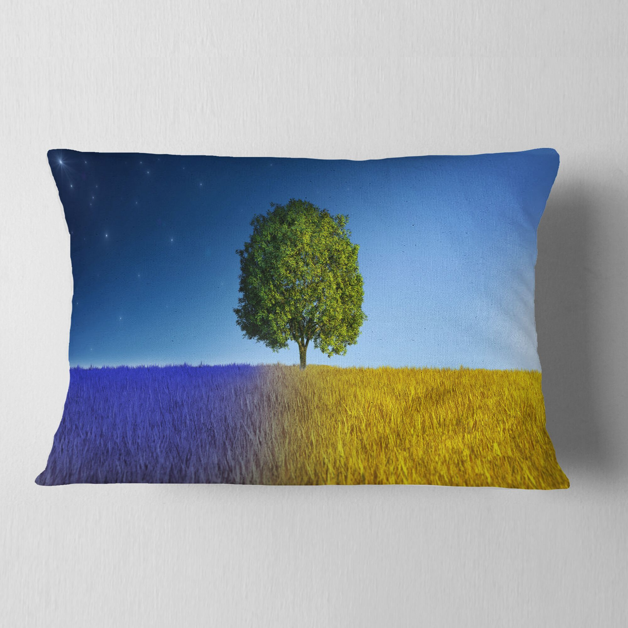 Designart 'Tree in Night and Day' Landscape Printed Throw Pillow