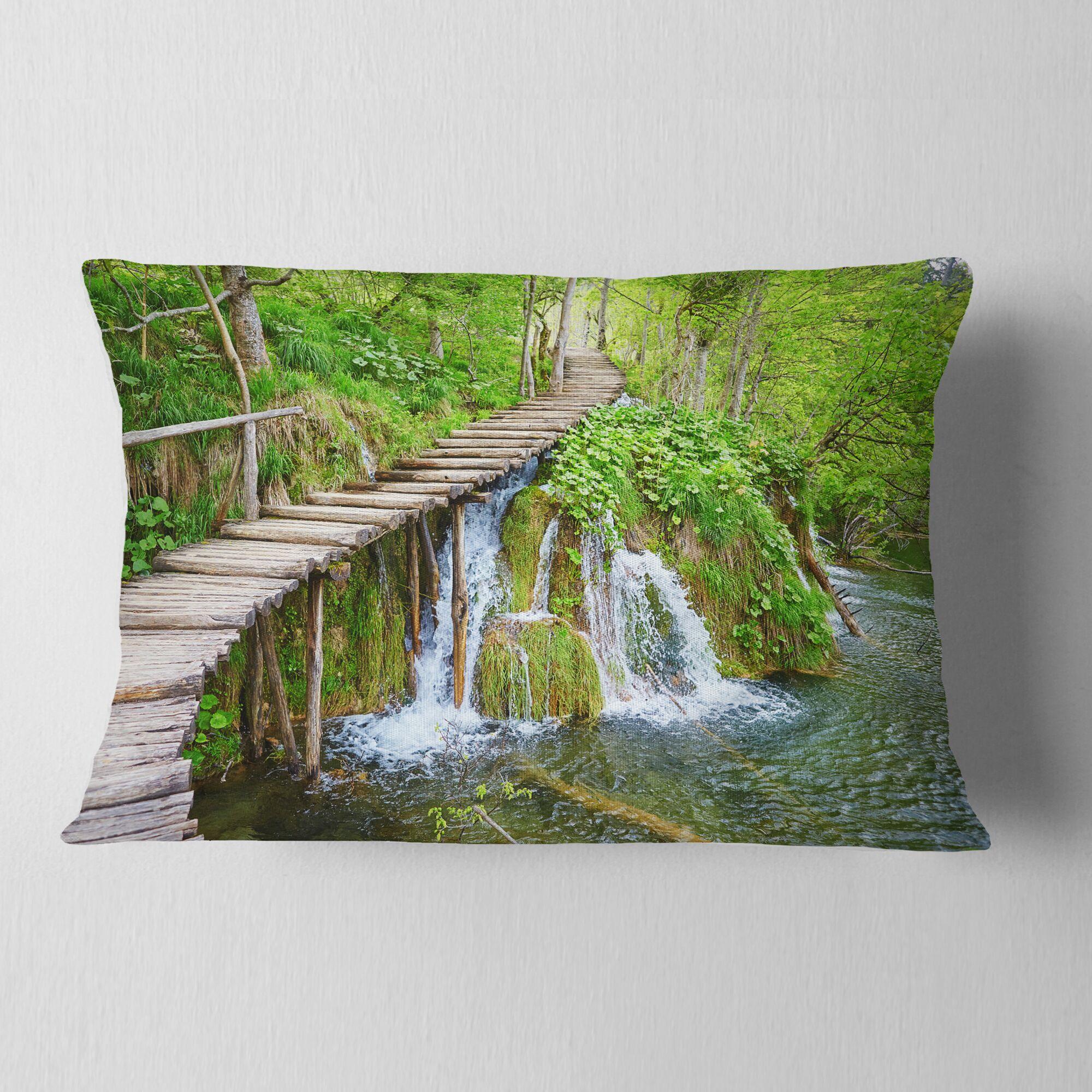 Designart 'Cascades in Plitvice Lakes' Landscape Photography Throw Pillow