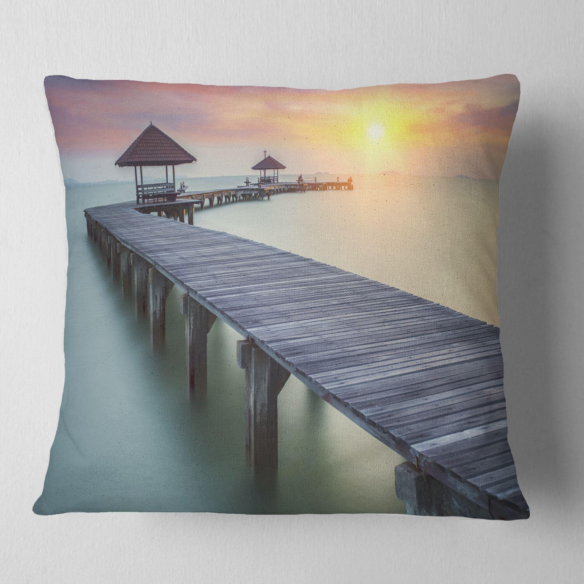 Seashore Photo Wooden Sea Bridge and Sunset Throw Pillow Size: 18