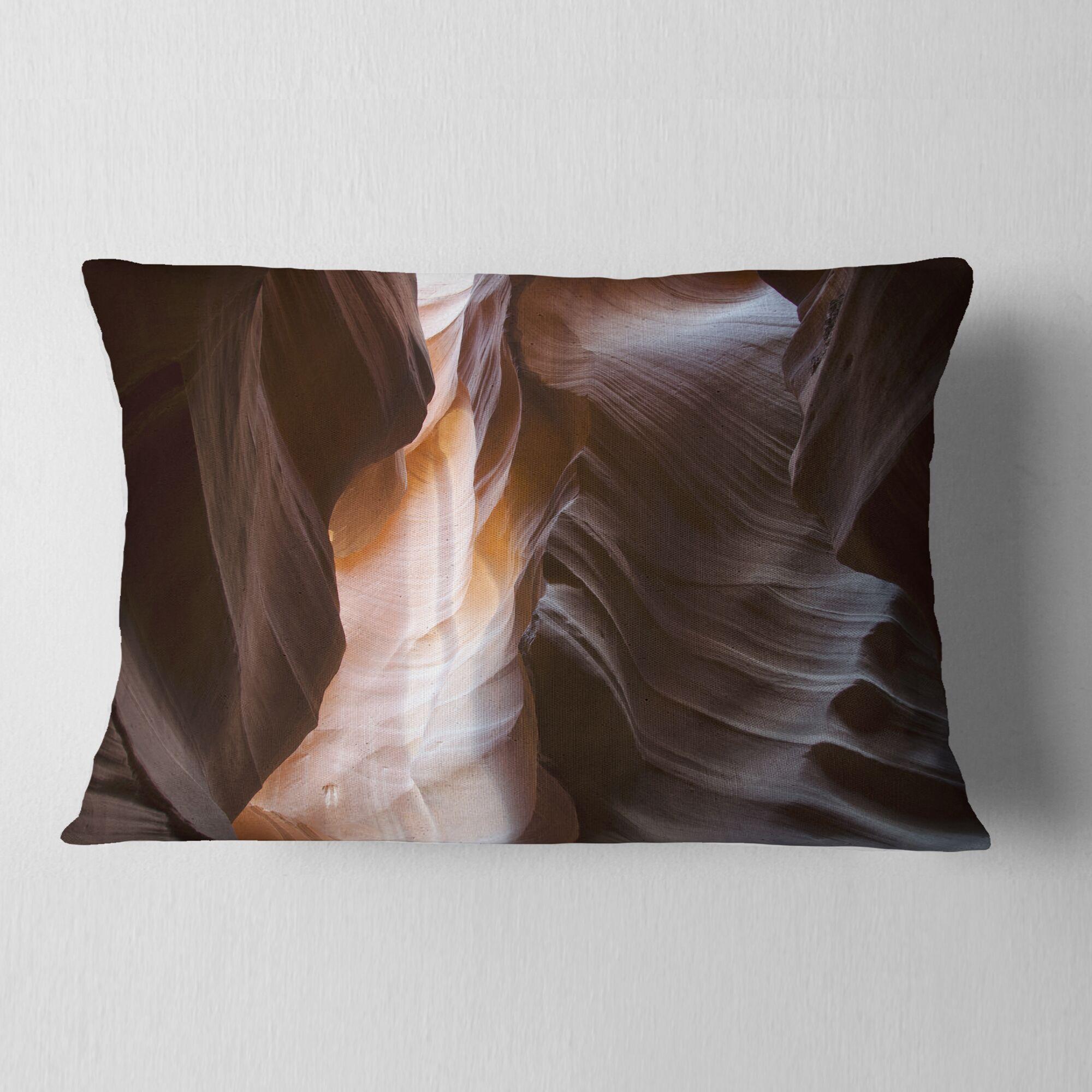 Designart 'Brown Antelope Canyon' Landscape Photography Throw Pillow