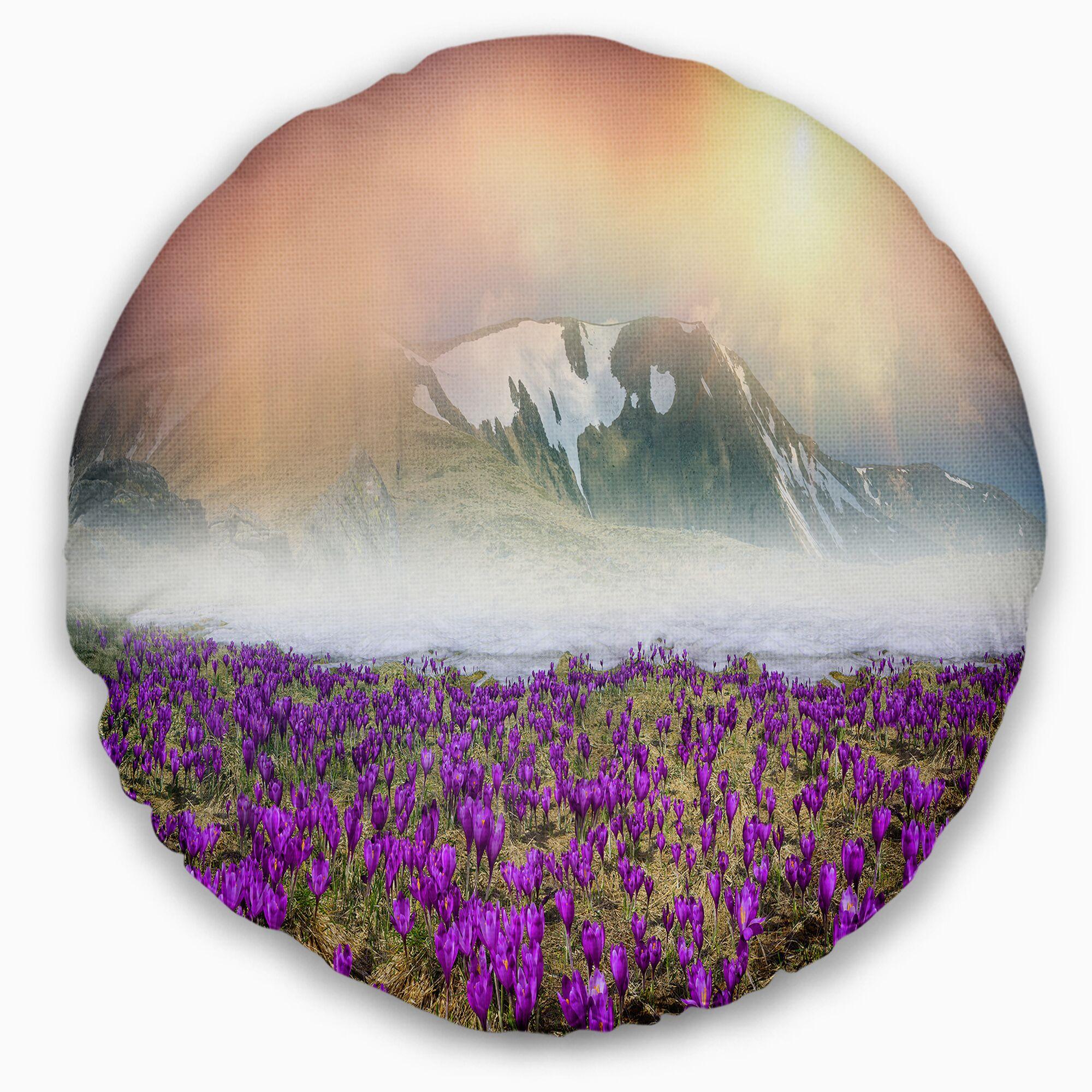 Landscape Photo Spring Crocus Flowers Throw Pillow Size: 20