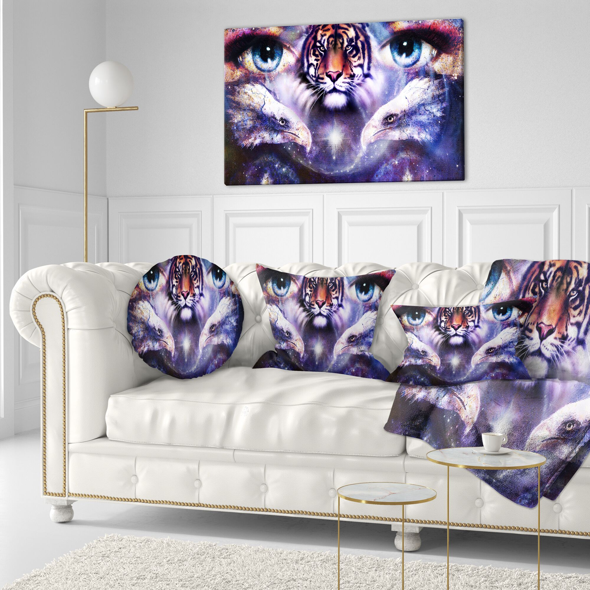 Animal Tiger Eagles and Woman Eyes Collage Throw Pillow Size: 16