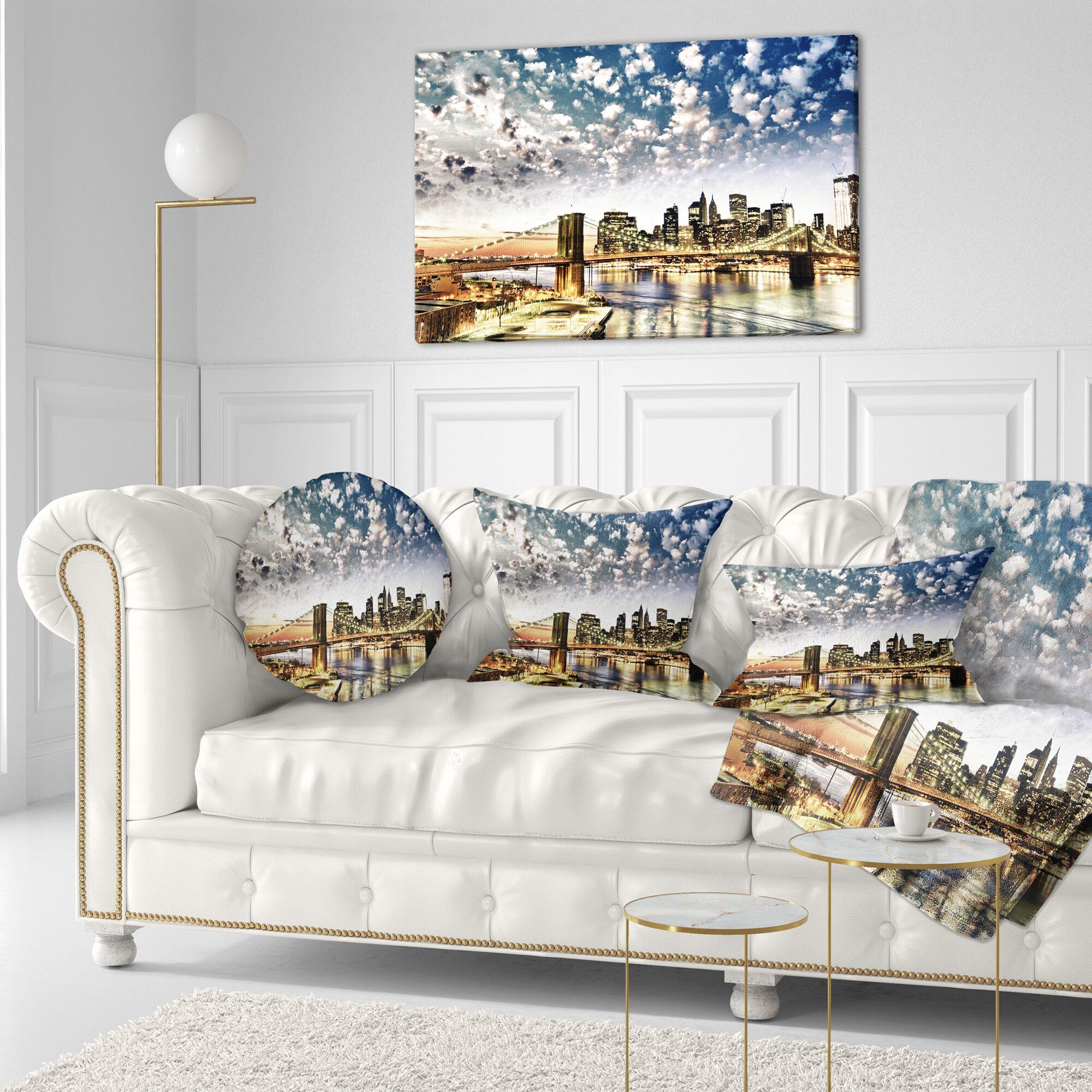 Cityscape New York City Manhattan Skyline Photo Throw Pillow Size: 20
