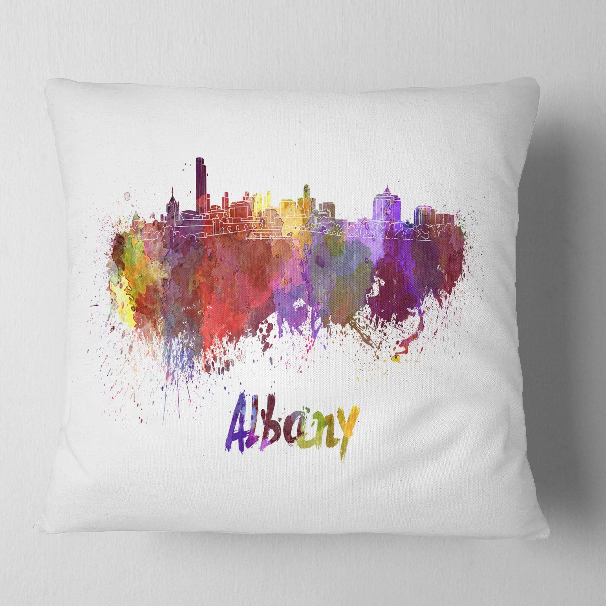 Cityscape Albany Skyline Pillow Size: 18