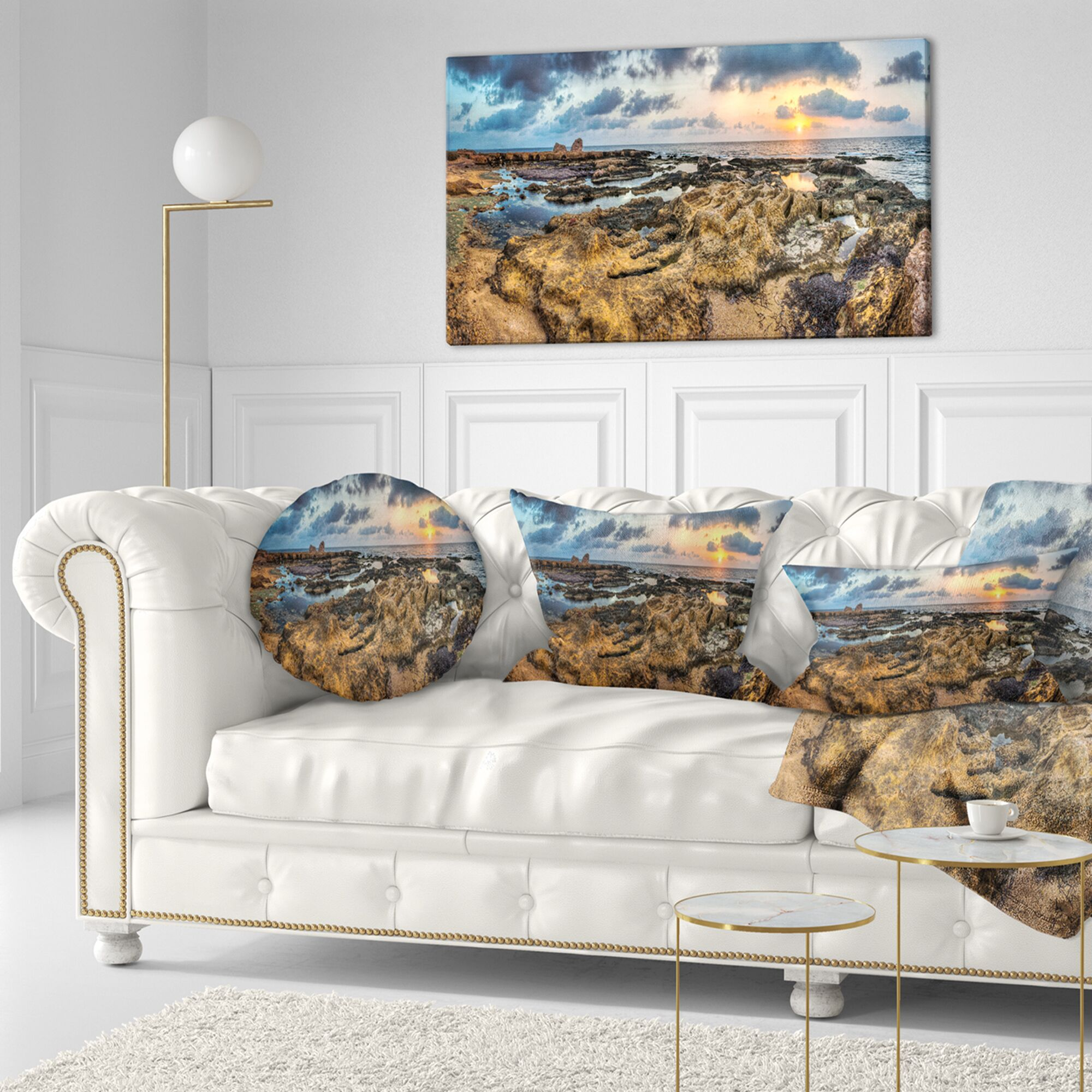 Beach Rocky African Seashore Panorama Throw Pillow Size: 20