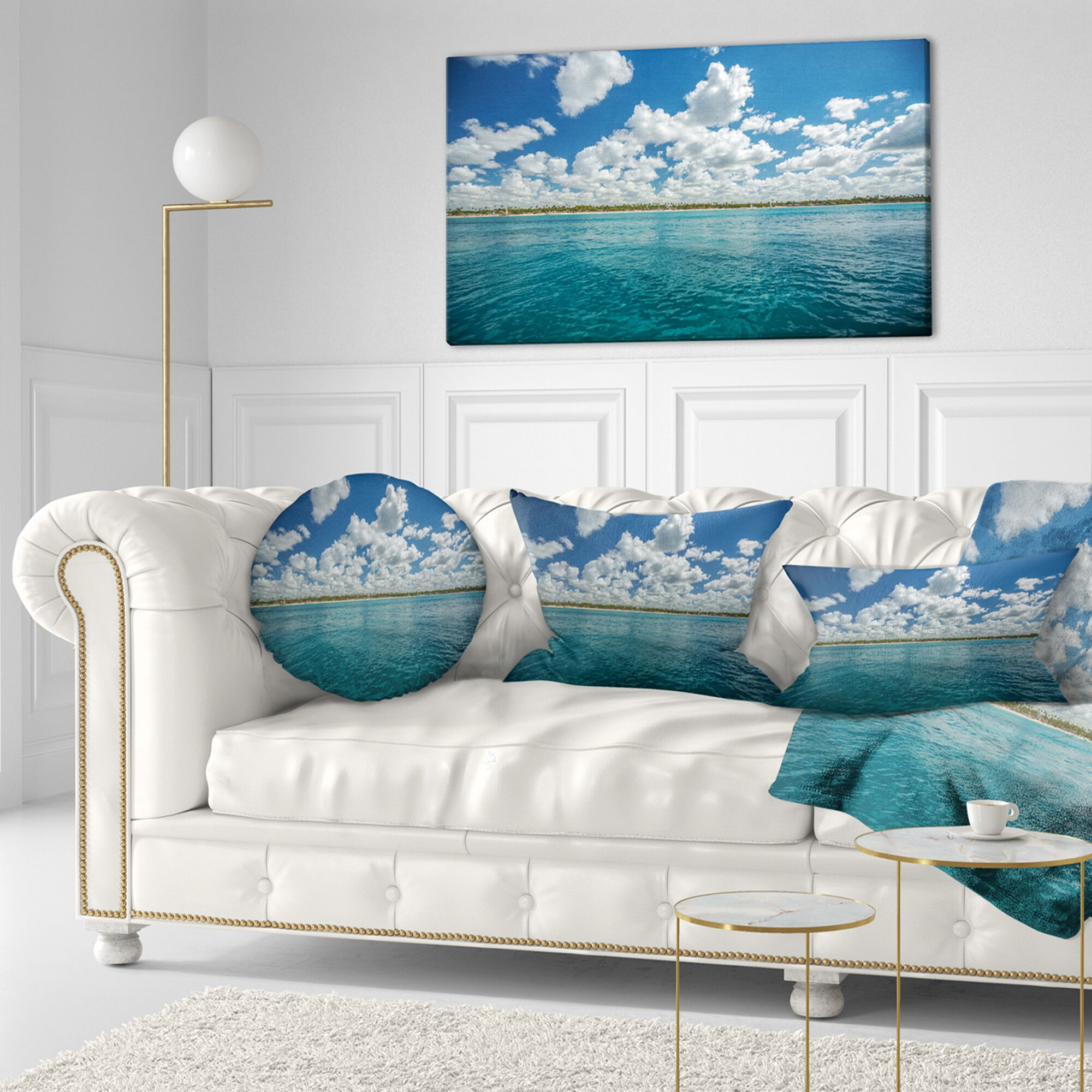 Beach White Fluffy Clouds over Sea Throw Pillow Size: 20