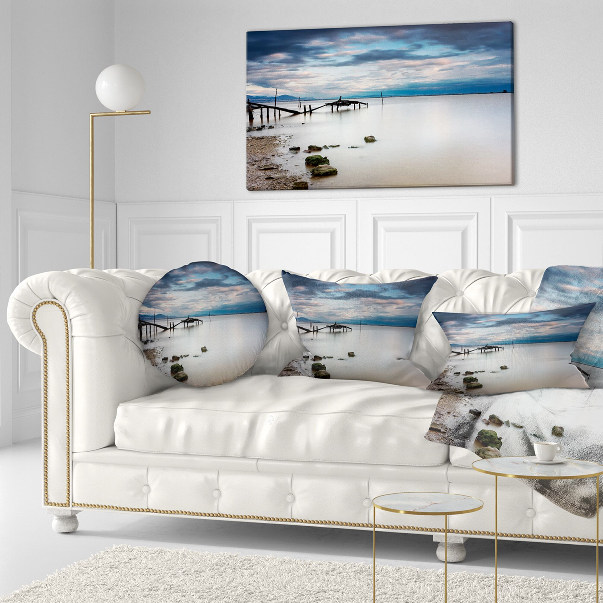 Pier Seascape Magic Sunrise with Old Wooden Pier Throw Pillow Size: 20