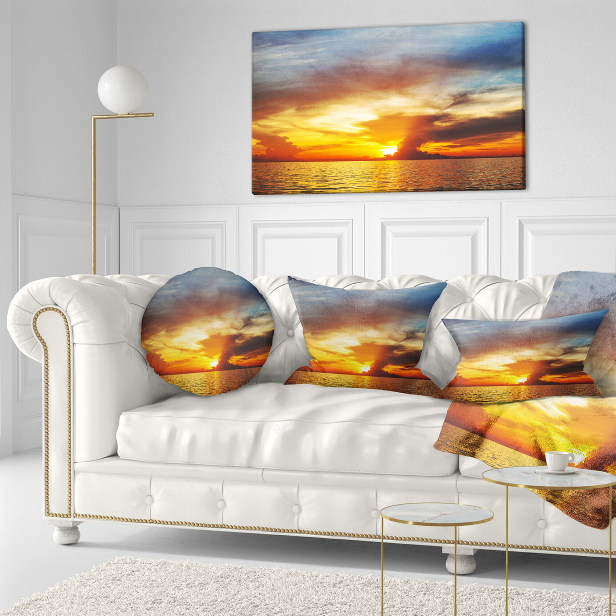 Seashore Fiery Sky at Sunset over Sea Lumbar Pillow