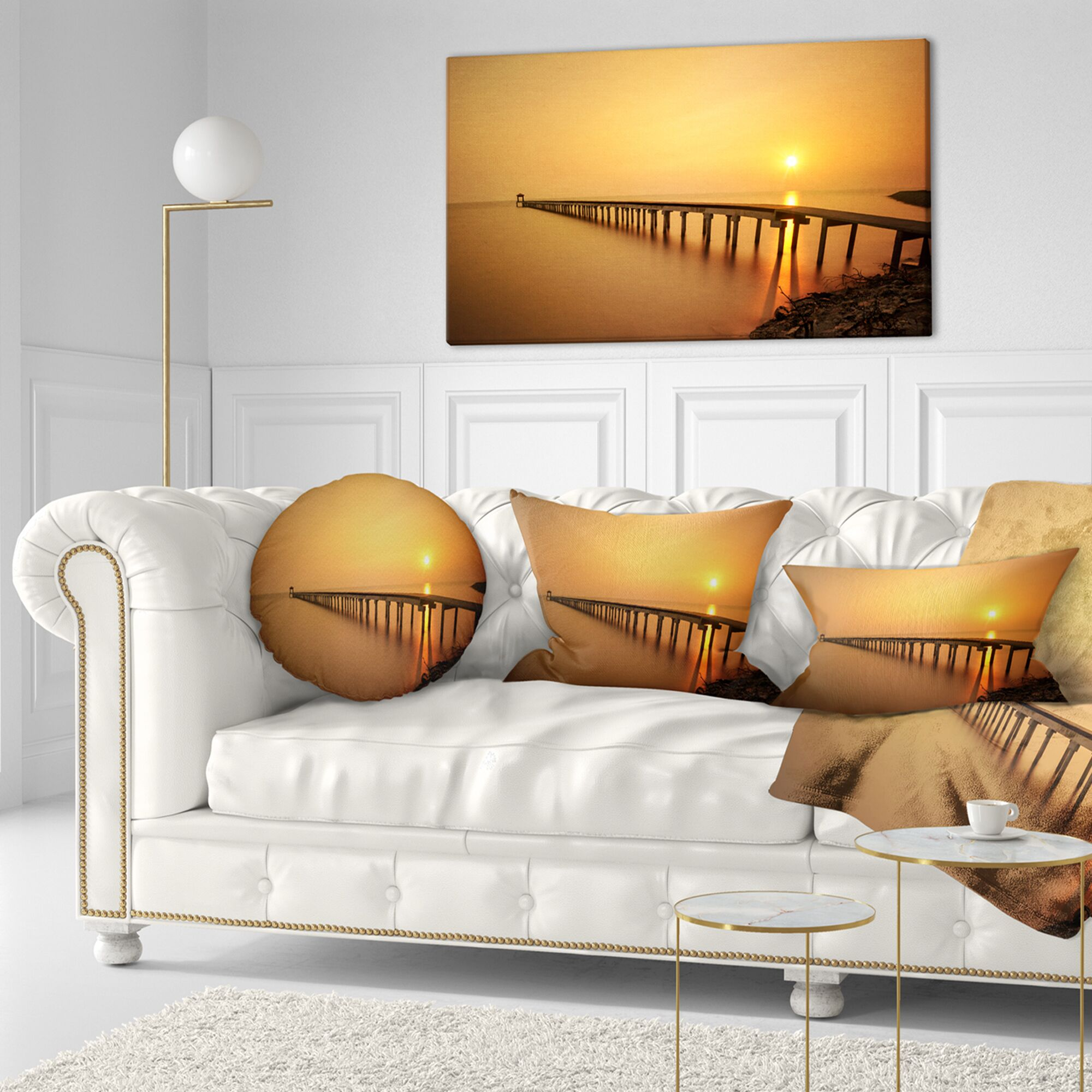 Pier Seascape Old Wooden Pier Long to Evening Sea Throw Pillow Size: 20