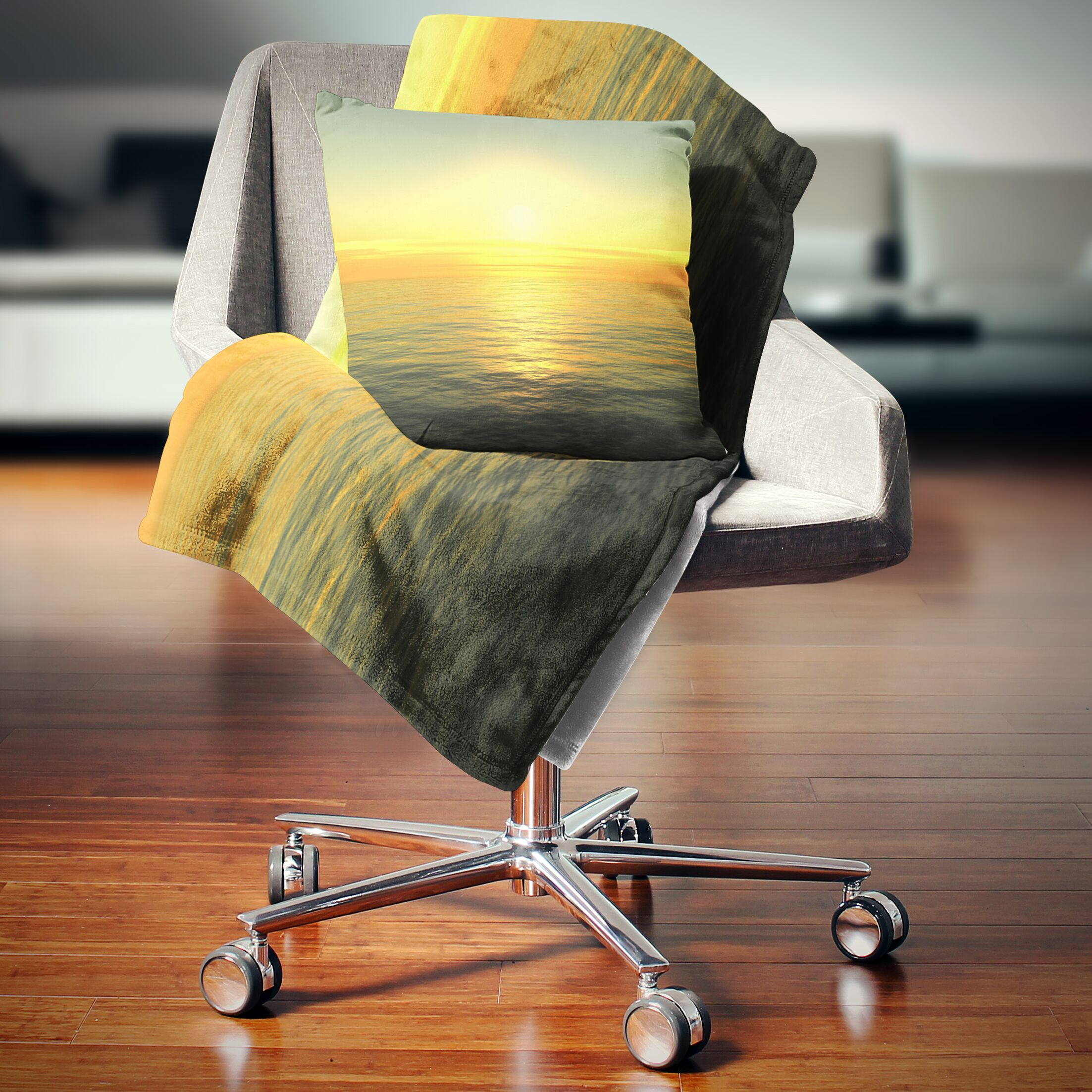 Beach Brilliant Sunrise over Waters Pillow Size: 16
