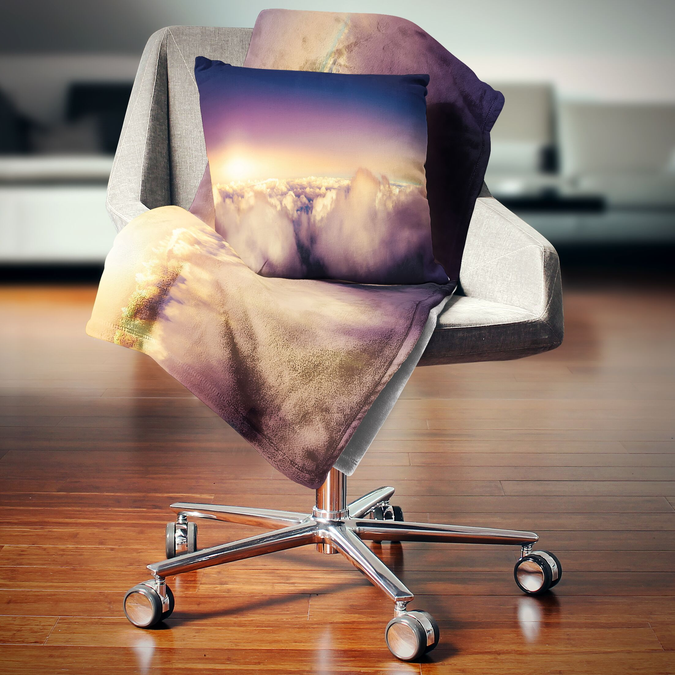 Landscape Sky over Clouds Panorama Pillow Size: 16