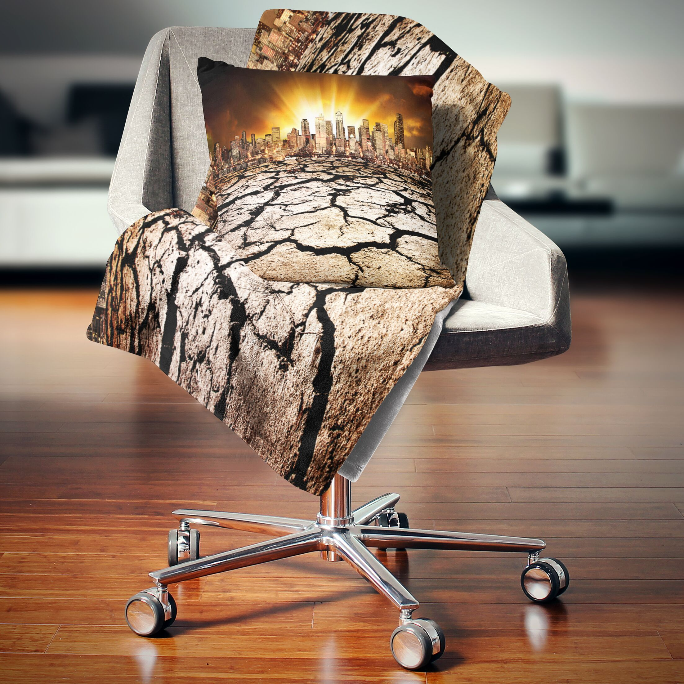 Landscape City with Effect of Climate Change Pillow Size: 18